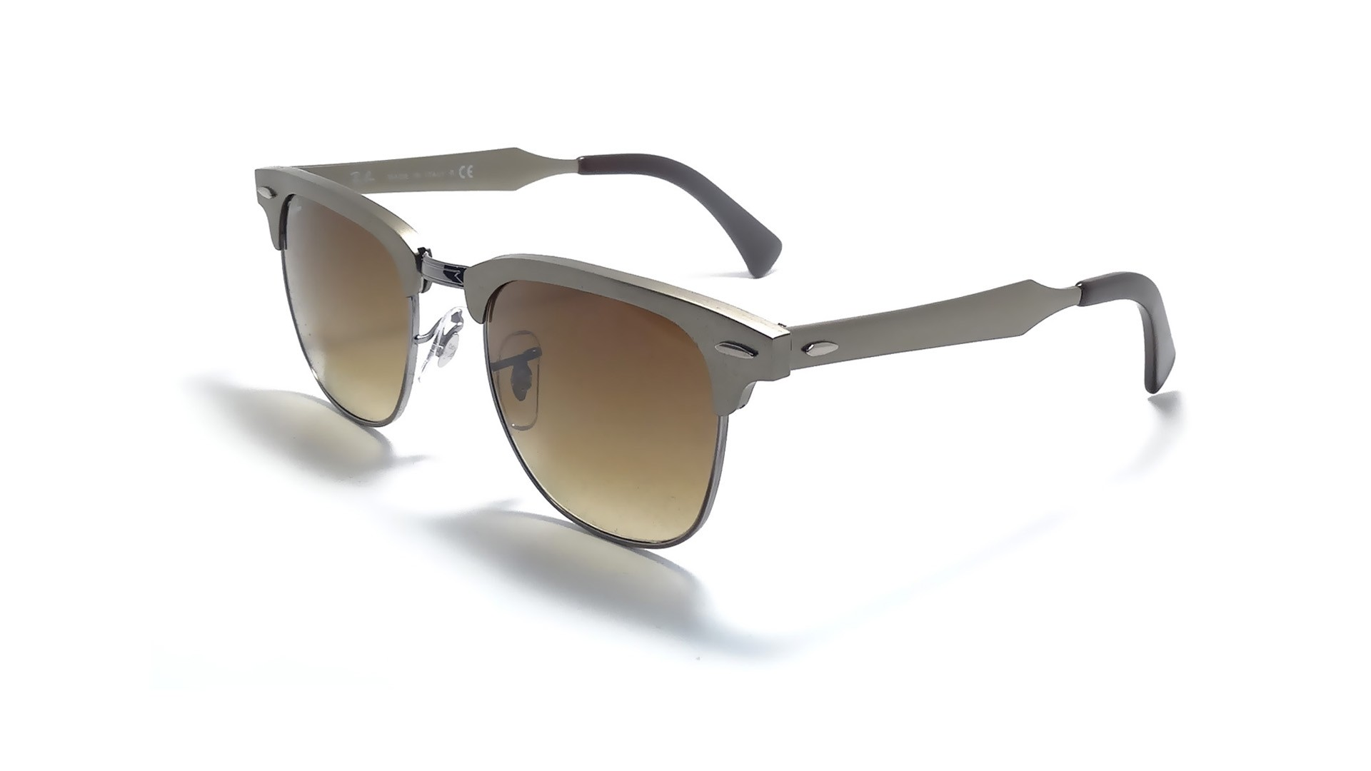 Ray Ban Clubmaster Aluminum Rb 3507 13740 Silver Frame WGrey Mirror New 13740 51 21 WGrey Sunglasses