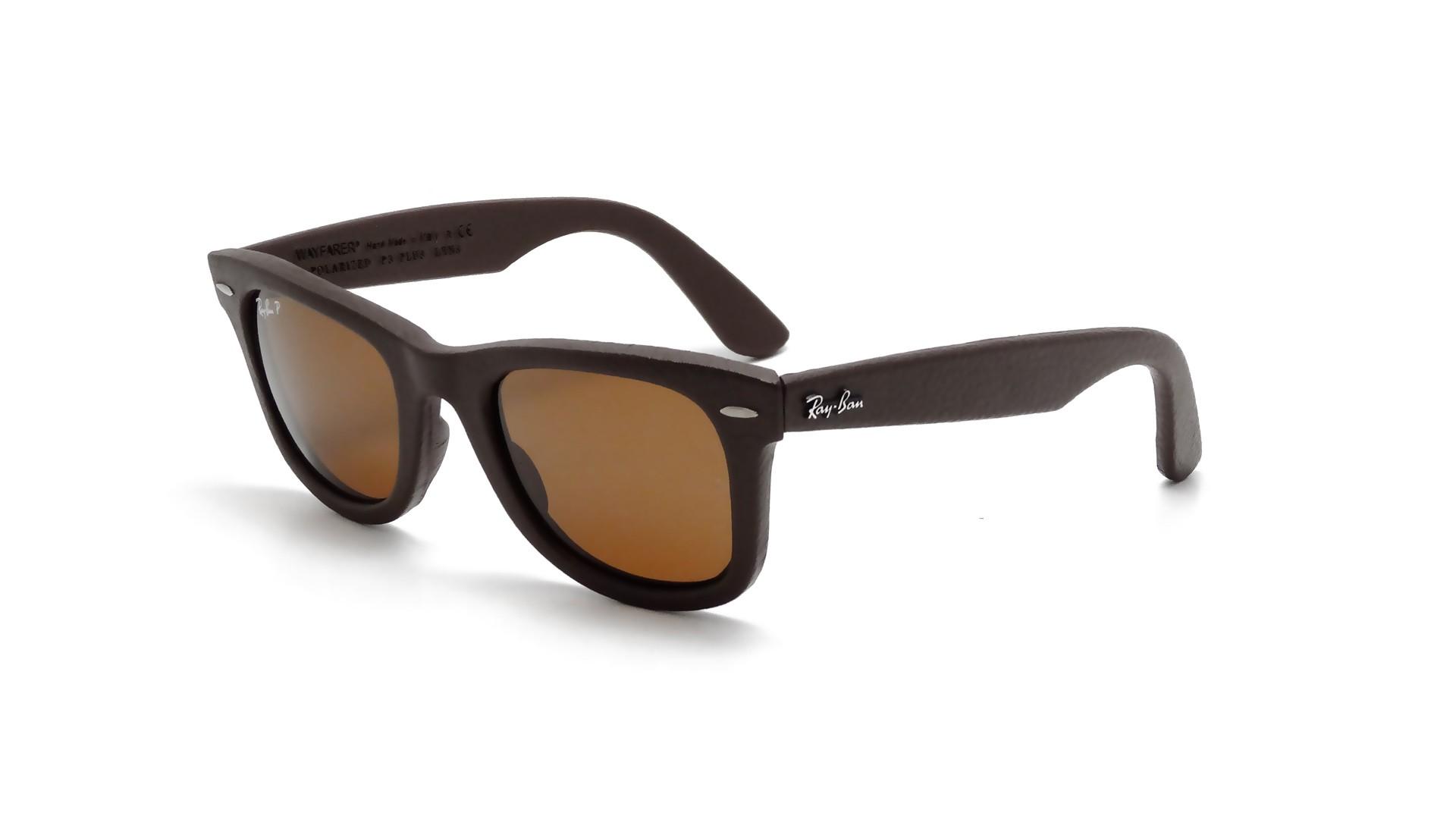 Ray Ban Wayfarer Leather Sunglasses  ban original wayfarer genuine leather brown rb2140qm 1153 n6 50 22
