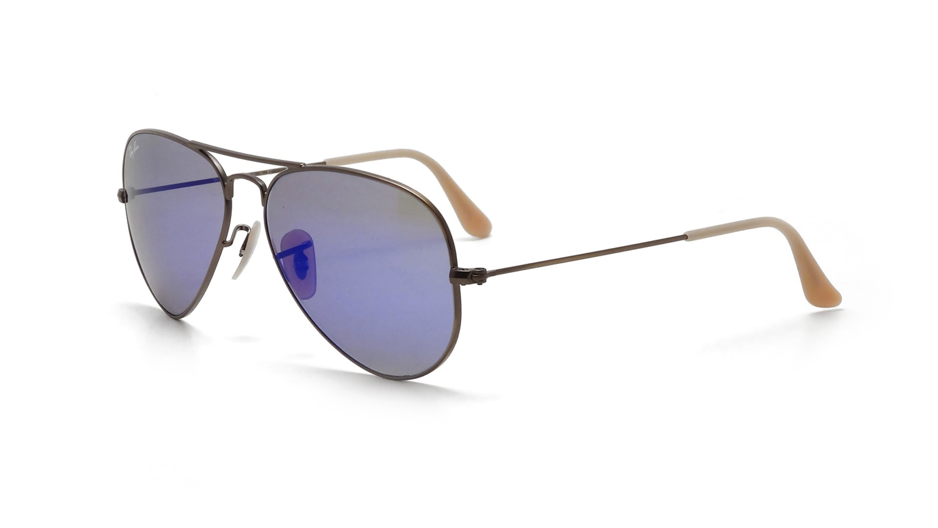 mirrored aviator sunglasses ray ban w45r  Ray-Ban Aviator Large Metal Beige RB3025 167/68 55-14  Visiofactory