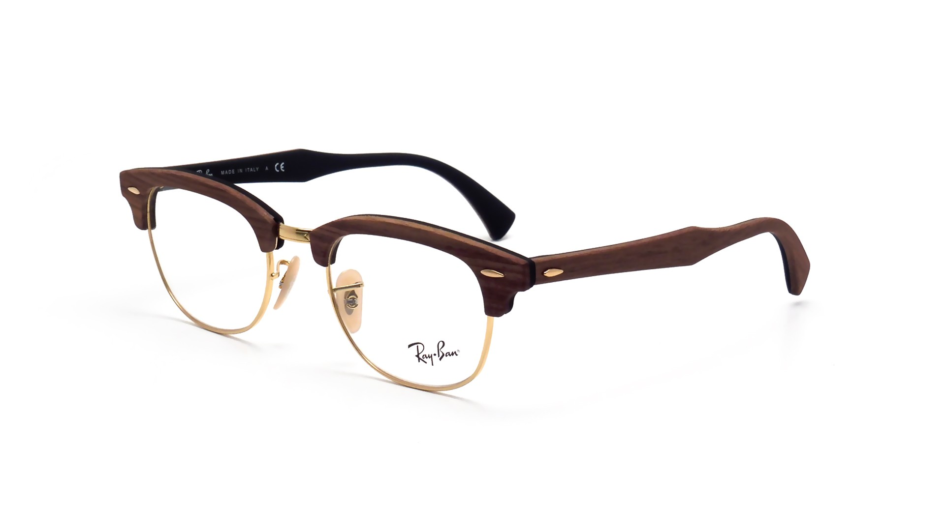 clubmaster ray ban eyeglasses  Ban Clubmaster Wood Brown RX5154 RB5154M 5560 51-21