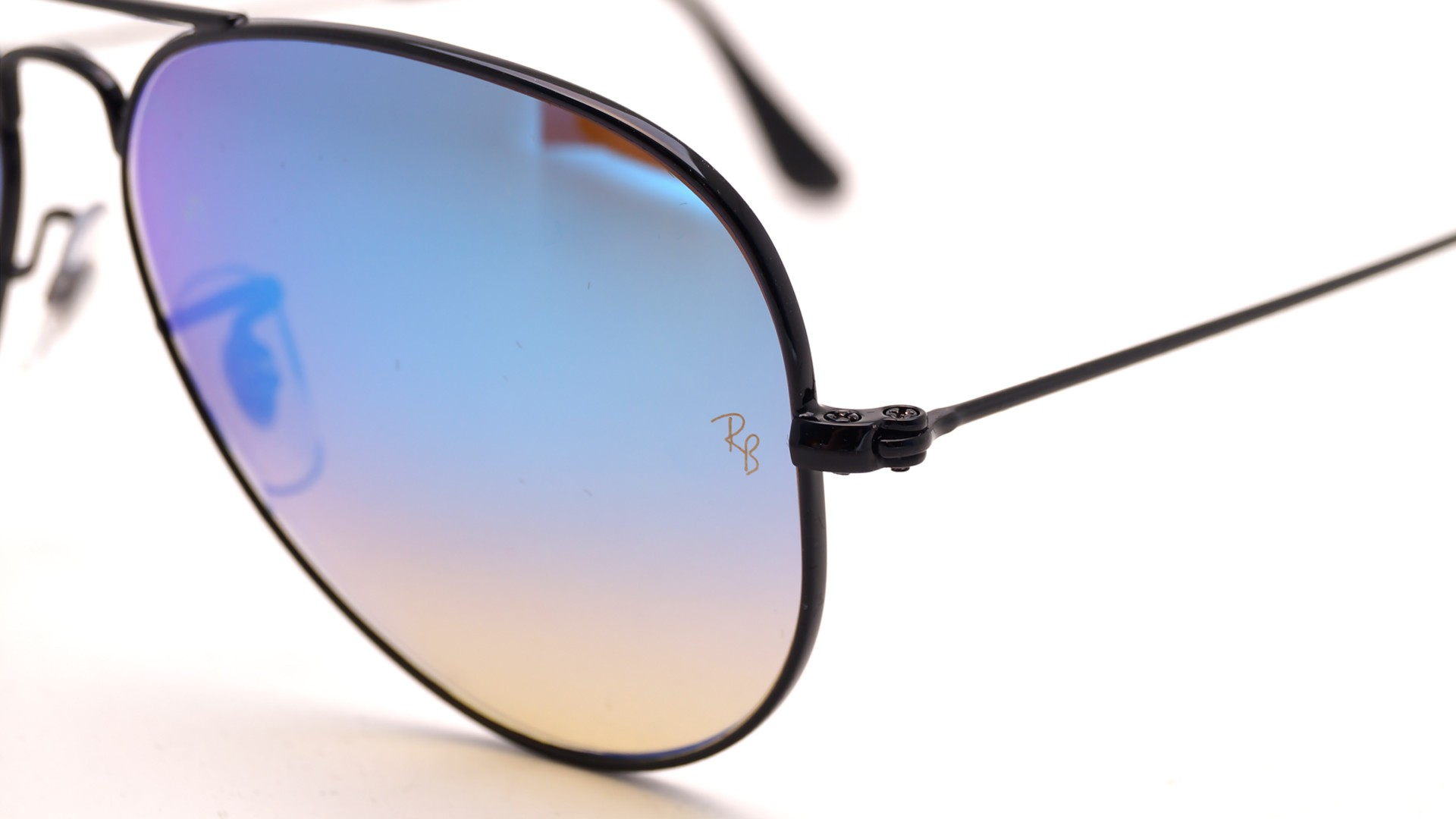 Ray ban aviator noir et or for Miroir metal noir