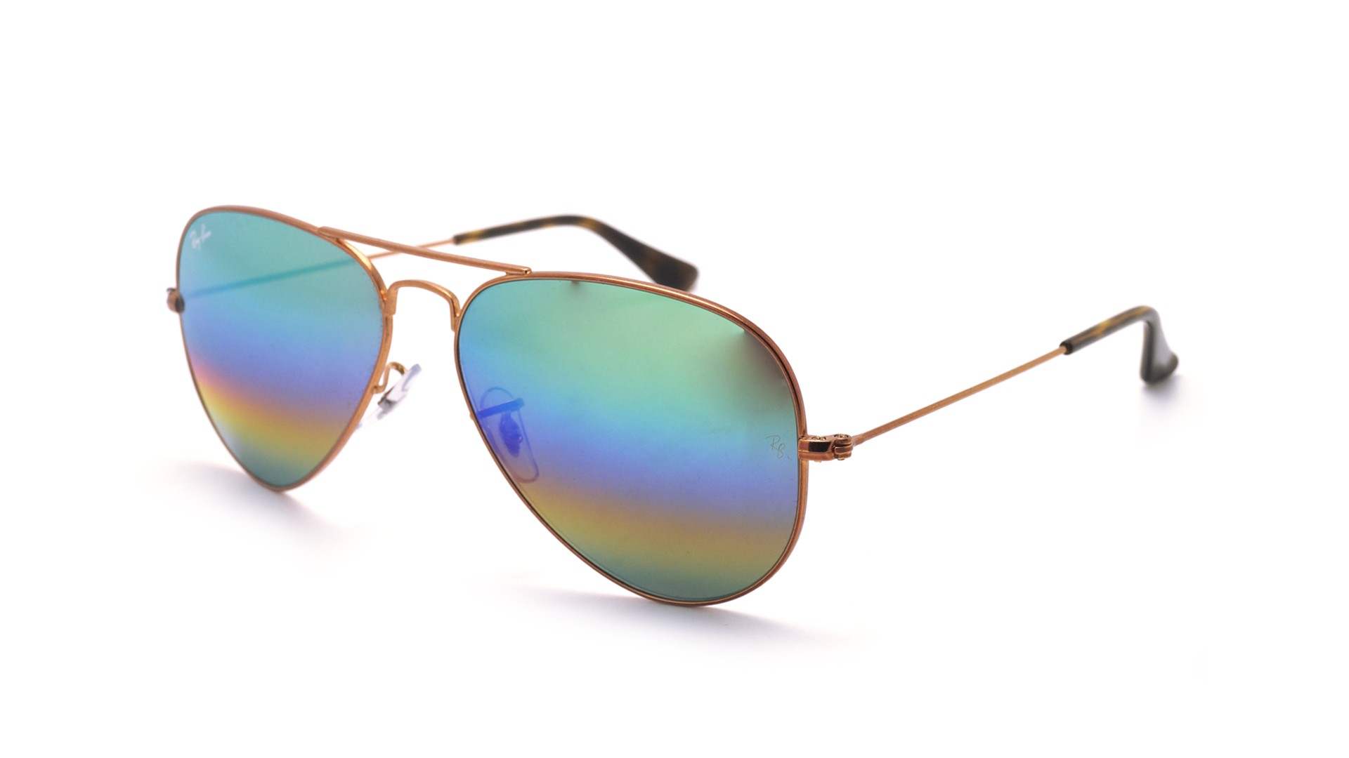 Ray ban aviator metal rainbow or mat rb3025 9018 c3 58 14 for Lunettes de soleil ray ban aviator miroir