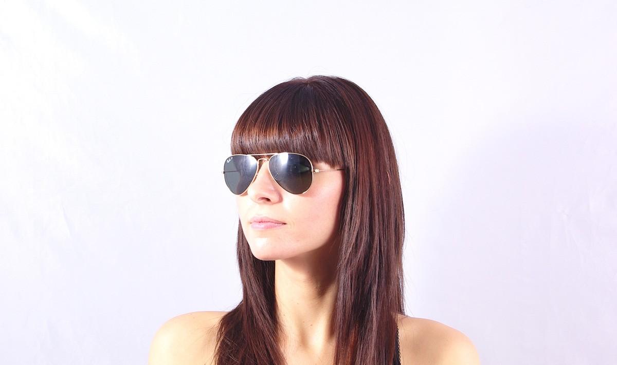 2295c9e28ec Sunglasses Ray-Ban Aviator Large Metal Gold RB3025 001 58 55-14 Small  Polarized
