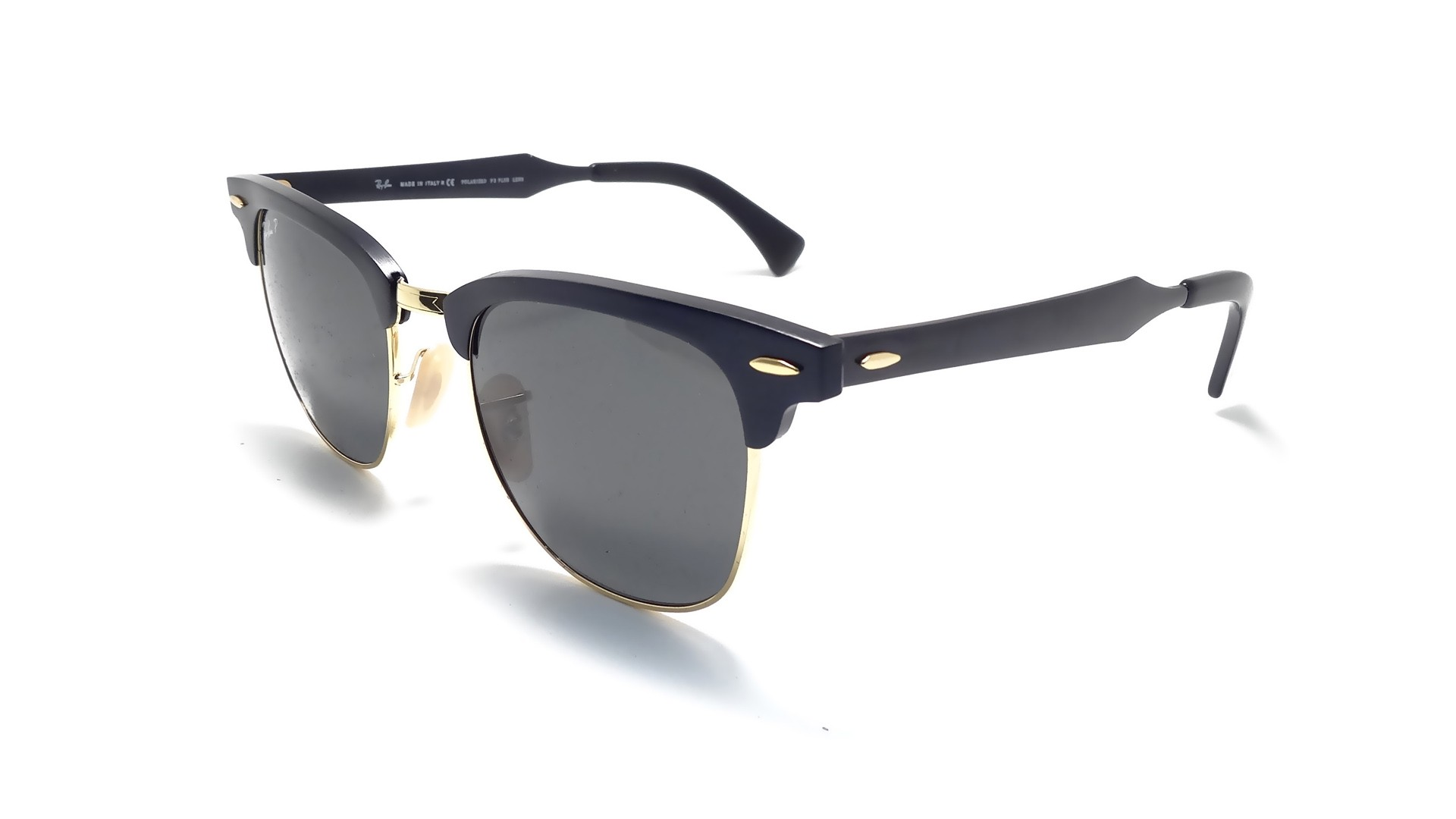 0fc686d6d7ca9 Sunglasses Ray-Ban Clubmaster Aluminium Black RB3507 136 N5 51-21 Medium  Polarized