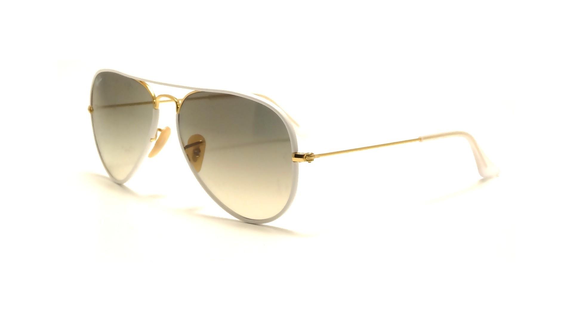 ab7df7209bc Sonnenbrillen Ray-Ban Aviator Full Color Weiß RB3025JM 146 32 58-14 Breit  Gradient Gläser