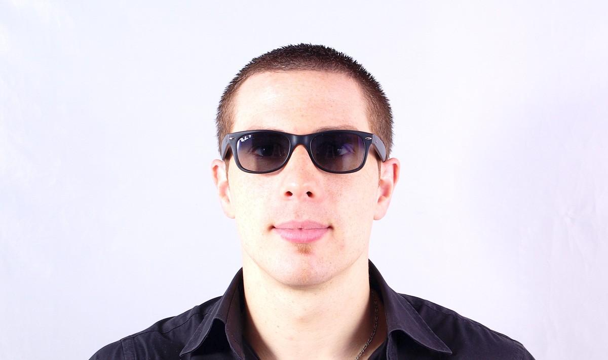 16326c7bde2 Sunglasses Ray-Ban New Wayfarer Black RB2132 601S 78 55-18 Large Polarized  Gradient