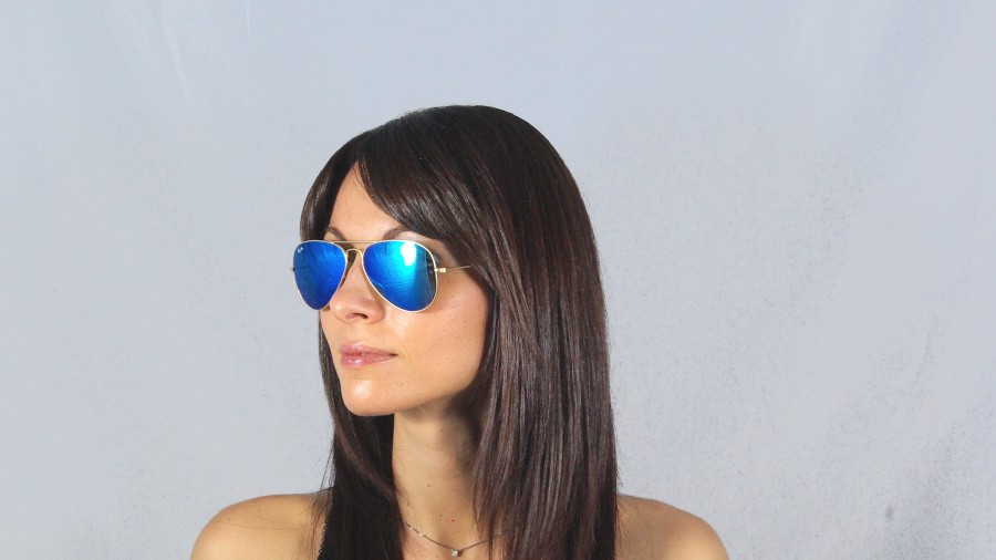 cb0bb1af408e6 Sunglasses Ray-Ban Aviator Blue Metal Gold RB3025 112 17 58-14 Large Mirror