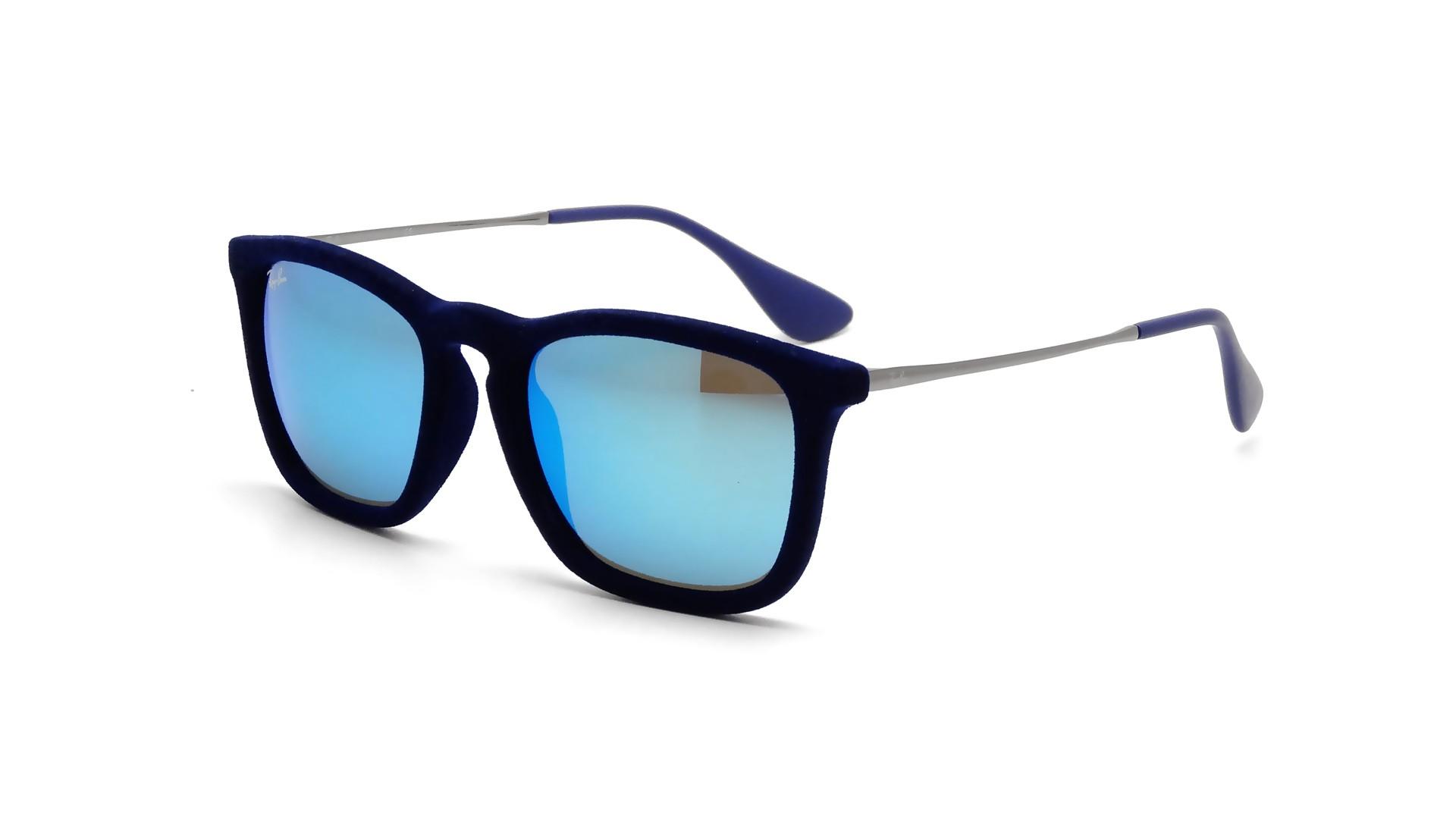 Lunettes de soleil Ray-Ban Chris Velvet Edition Blau RB4187 6081 55 54-18  Medium Mirrored 7b43f2c61253