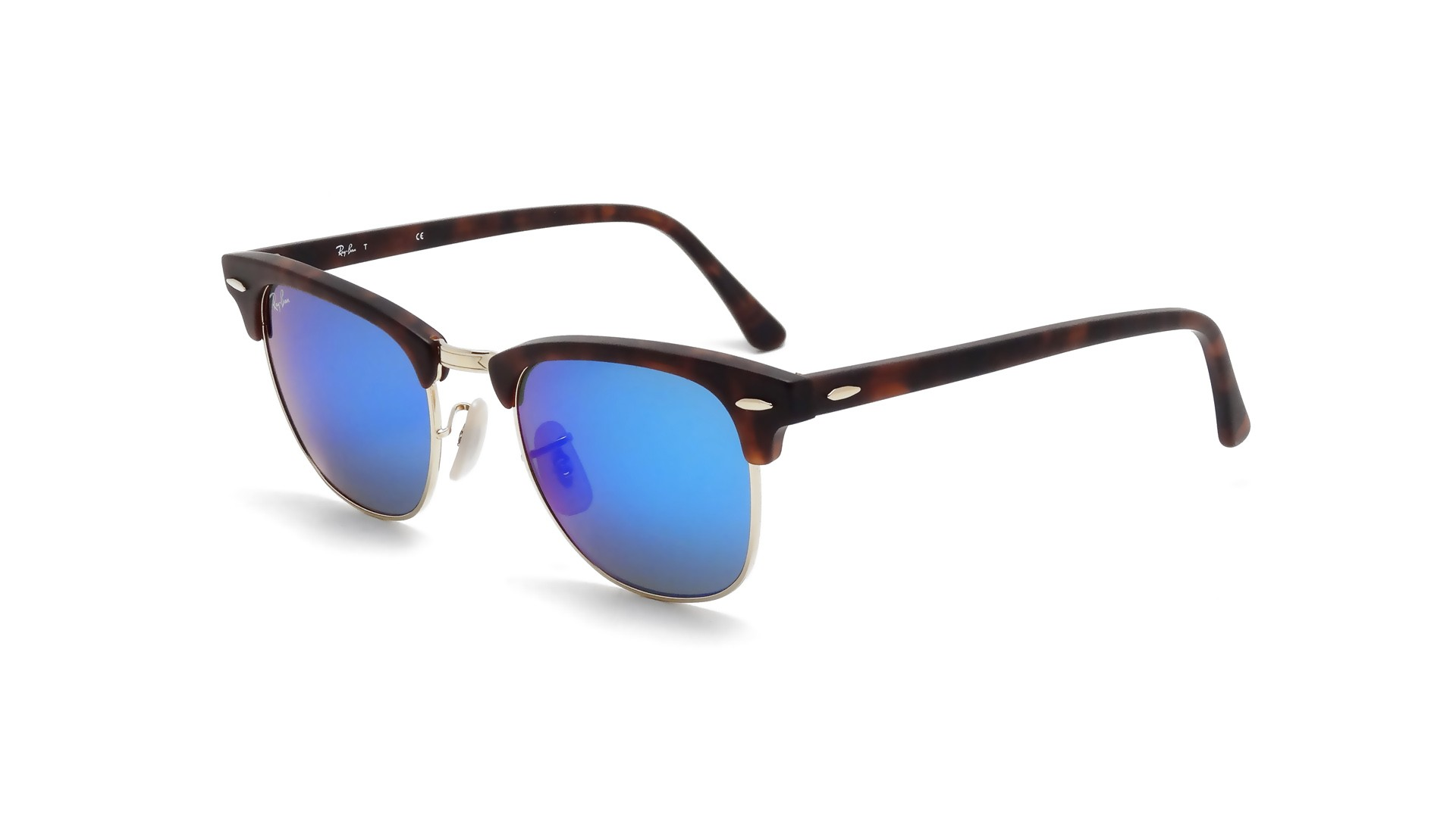 4aed769759 Sunglasses Ray-Ban Clubmaster Tortoise Matte Flash Lenses RB3016 1145 17  49-21 Small Mirror