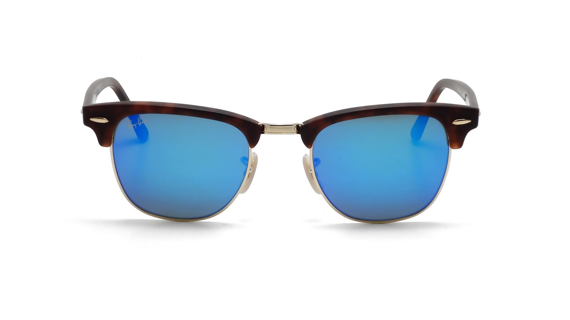 5f920d7bc0 Sunglasses Ray-Ban Clubmaster Tortoise Matte Flash Lenses RB3016 1145 17 49- 21 Small Mirror