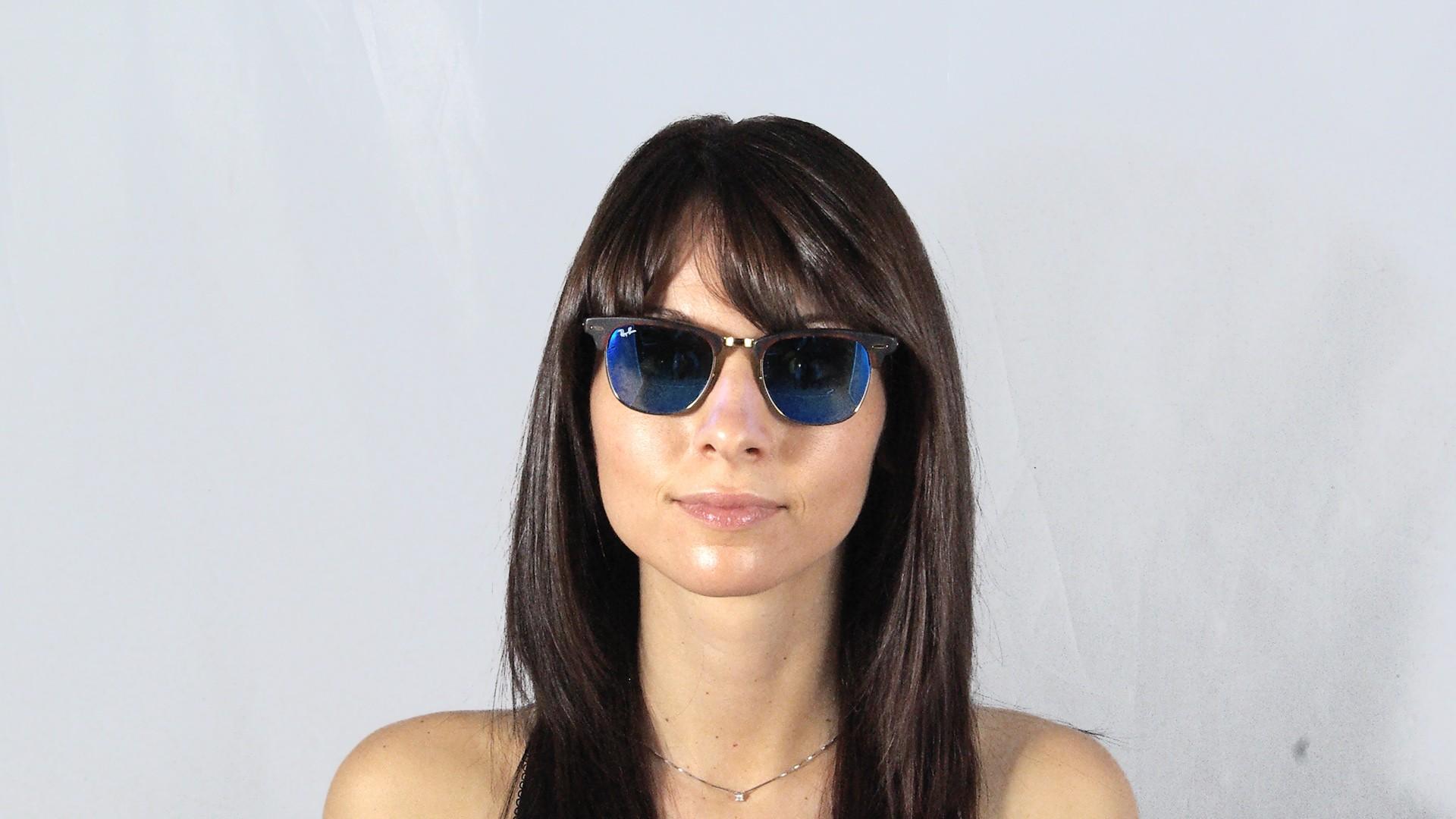 0b726492bdc4eb Lunettes de soleil Ray-Ban Clubmaster Écaille Mat Flash Lenses RB3016  1145 17 49-21 Small Verres Miroirs Bleus