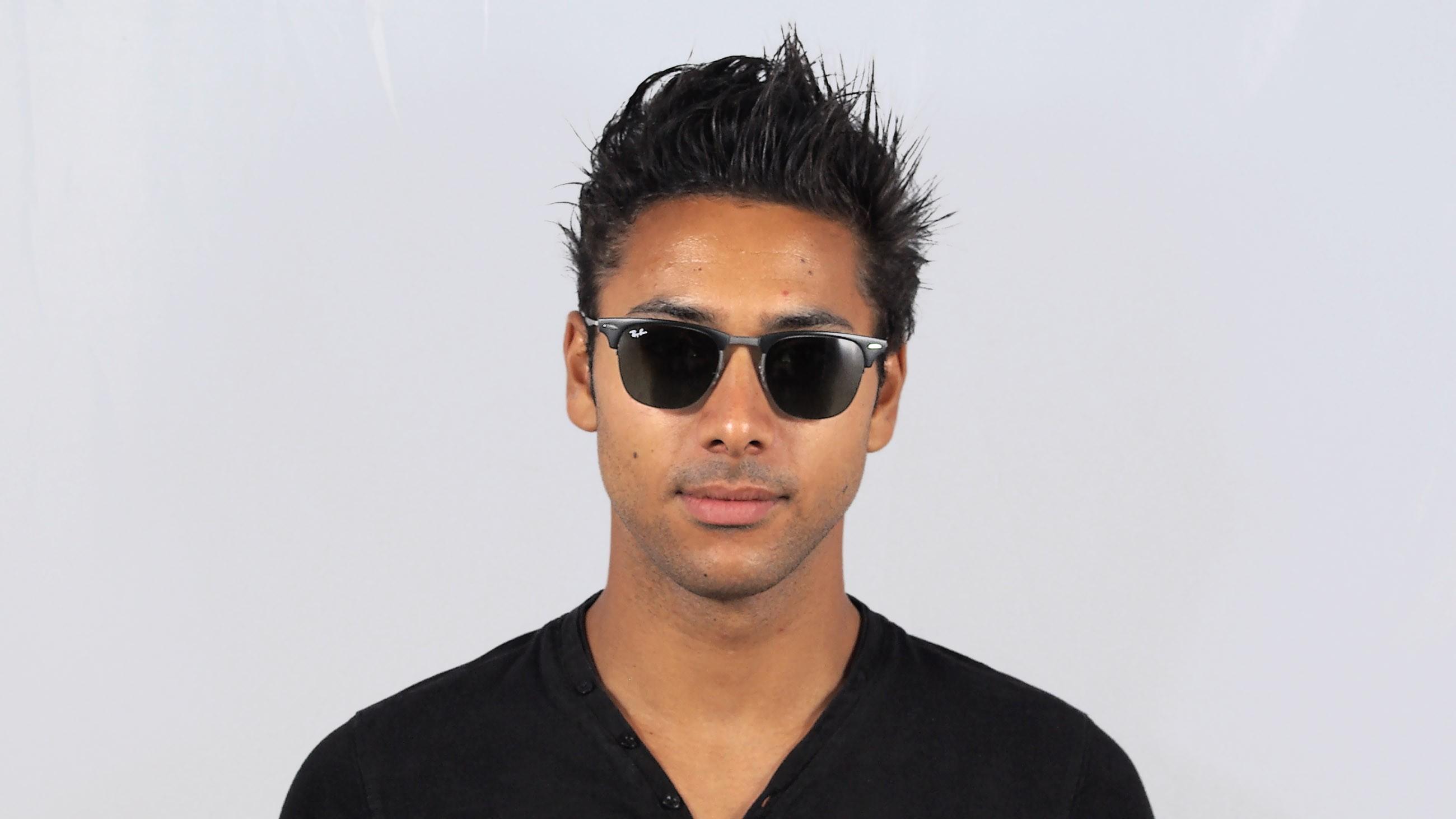 16f0d640ed Sunglasses Ray-Ban Clubmaster Light Ray Black RB8056 154 71 51-22 Medium