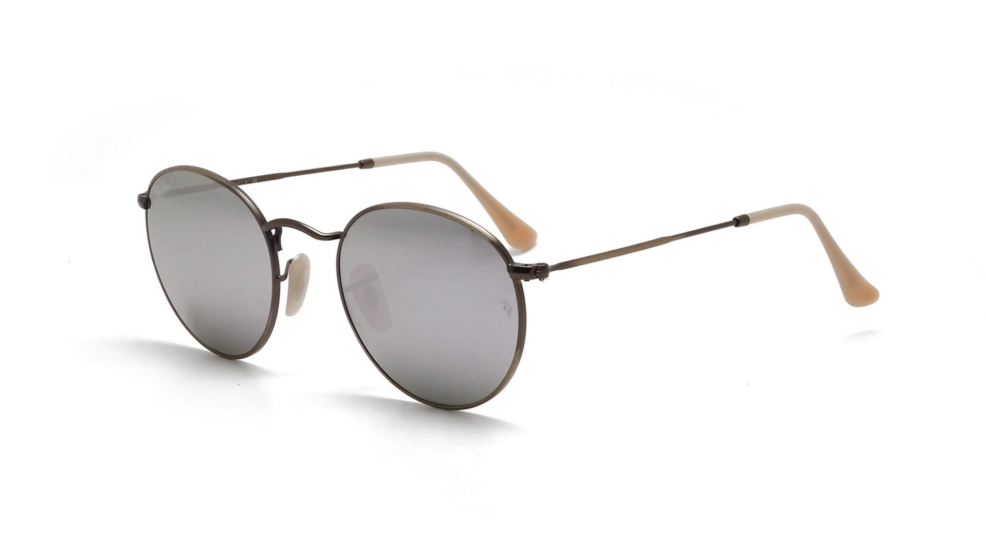 f3f0cd1e4 Sunglasses Ray-Ban Round Metal Brown Flash Lenses RB3447 167/4K 50-21  Medium Mirror