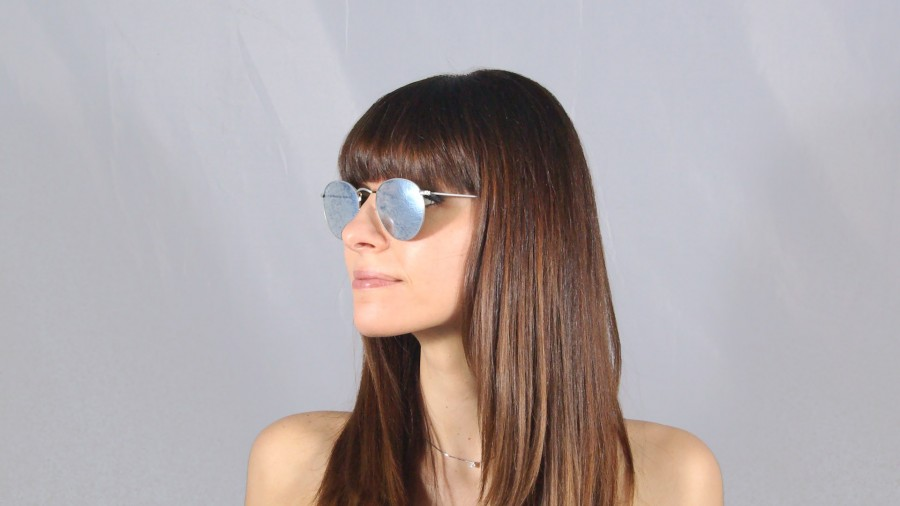 ray ban round metal silber