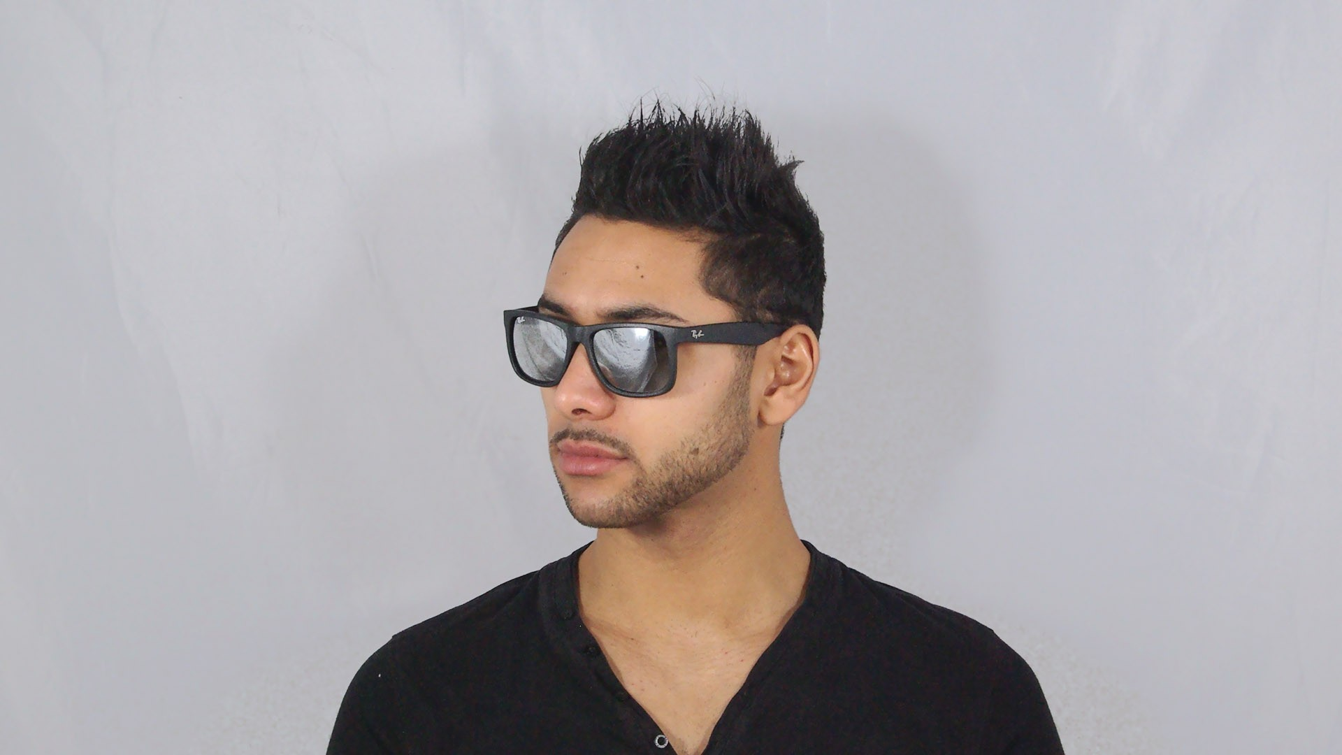 Lunettes de soleil Ray-Ban Justin Noir RB4165 622 6G 51-16 Medium Miroirs 608fe06a1cfe