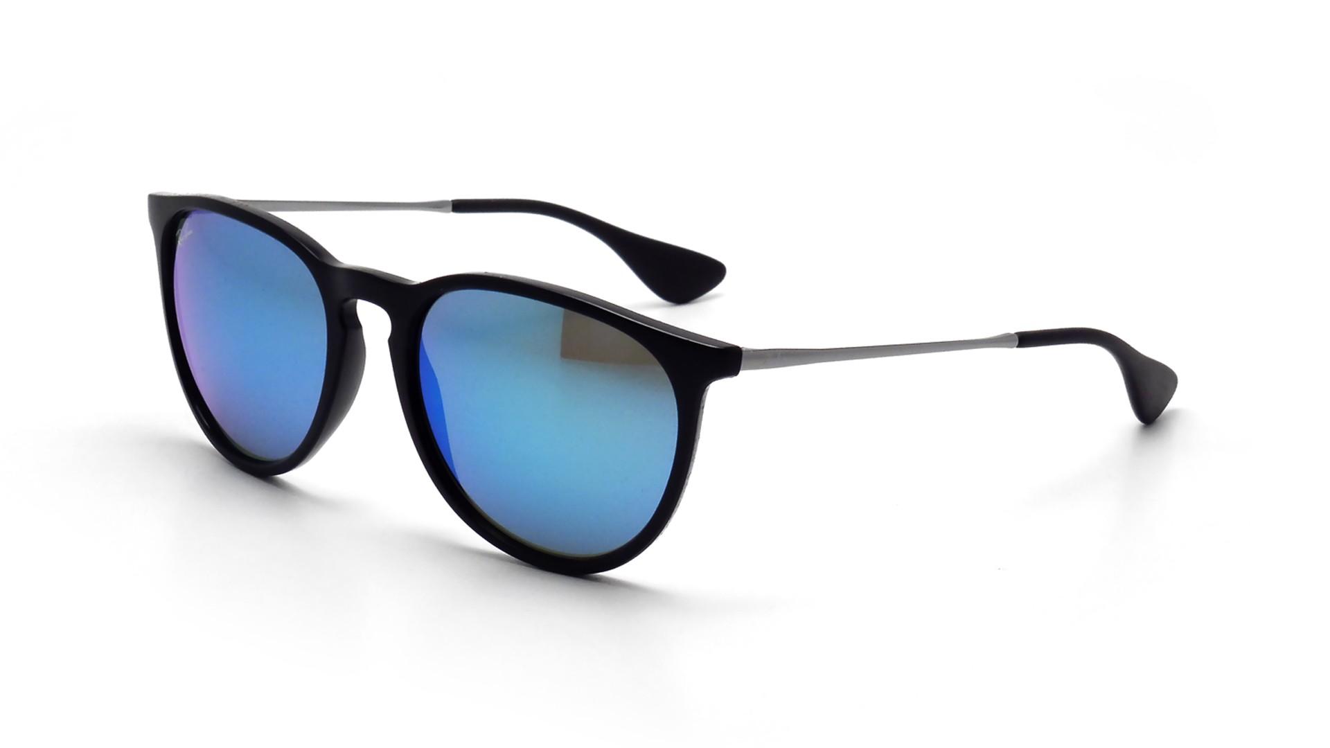 00c6557a5928d0 Lunettes de soleil Ray-Ban Erika Noir RB4171 601 55 54-18 Medium Verres  Miroirs Bleus