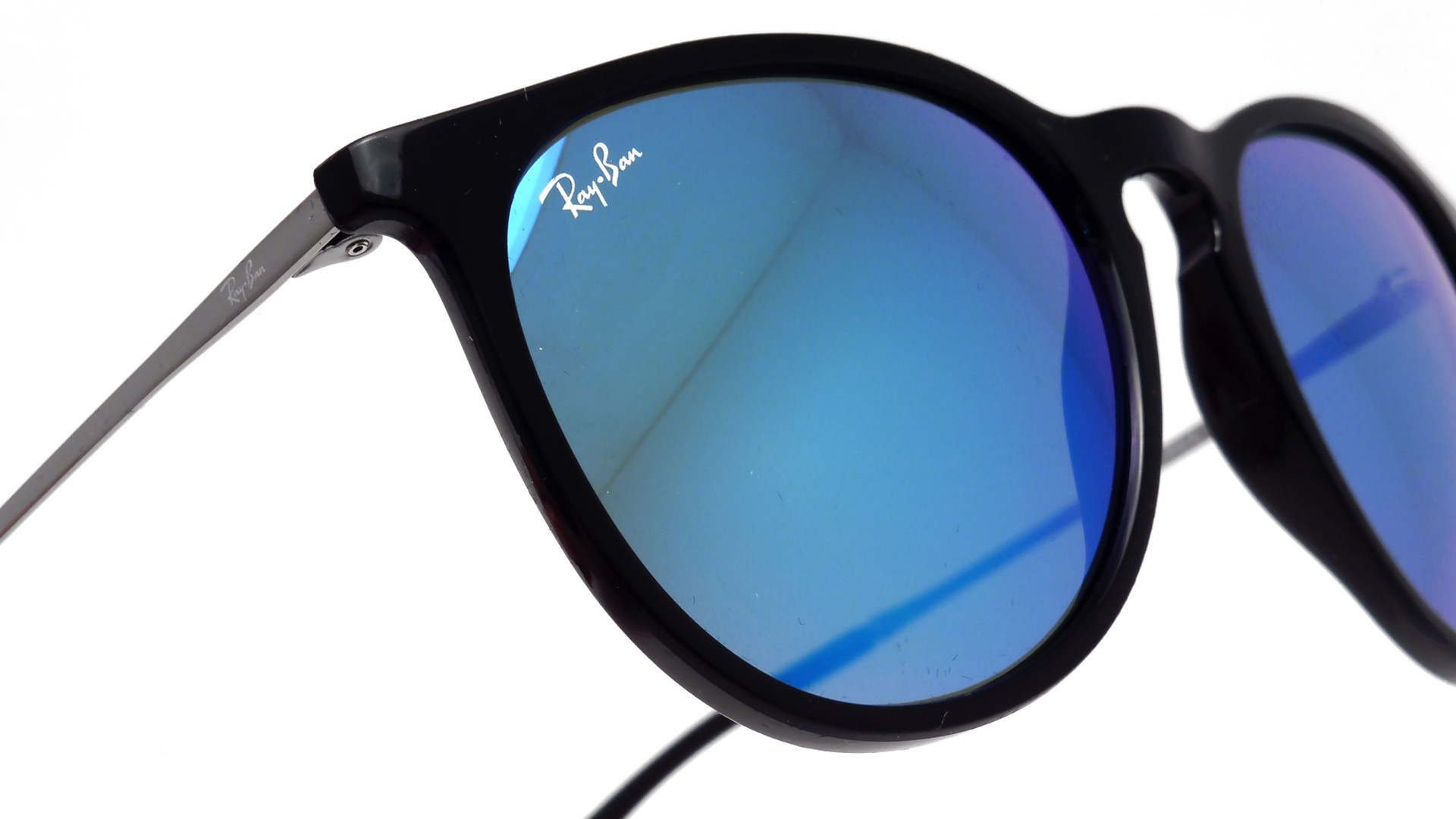 c848e9483b6 Sunglasses Ray-Ban Erika Black RB4171 601 55 54-18 Medium Mirror