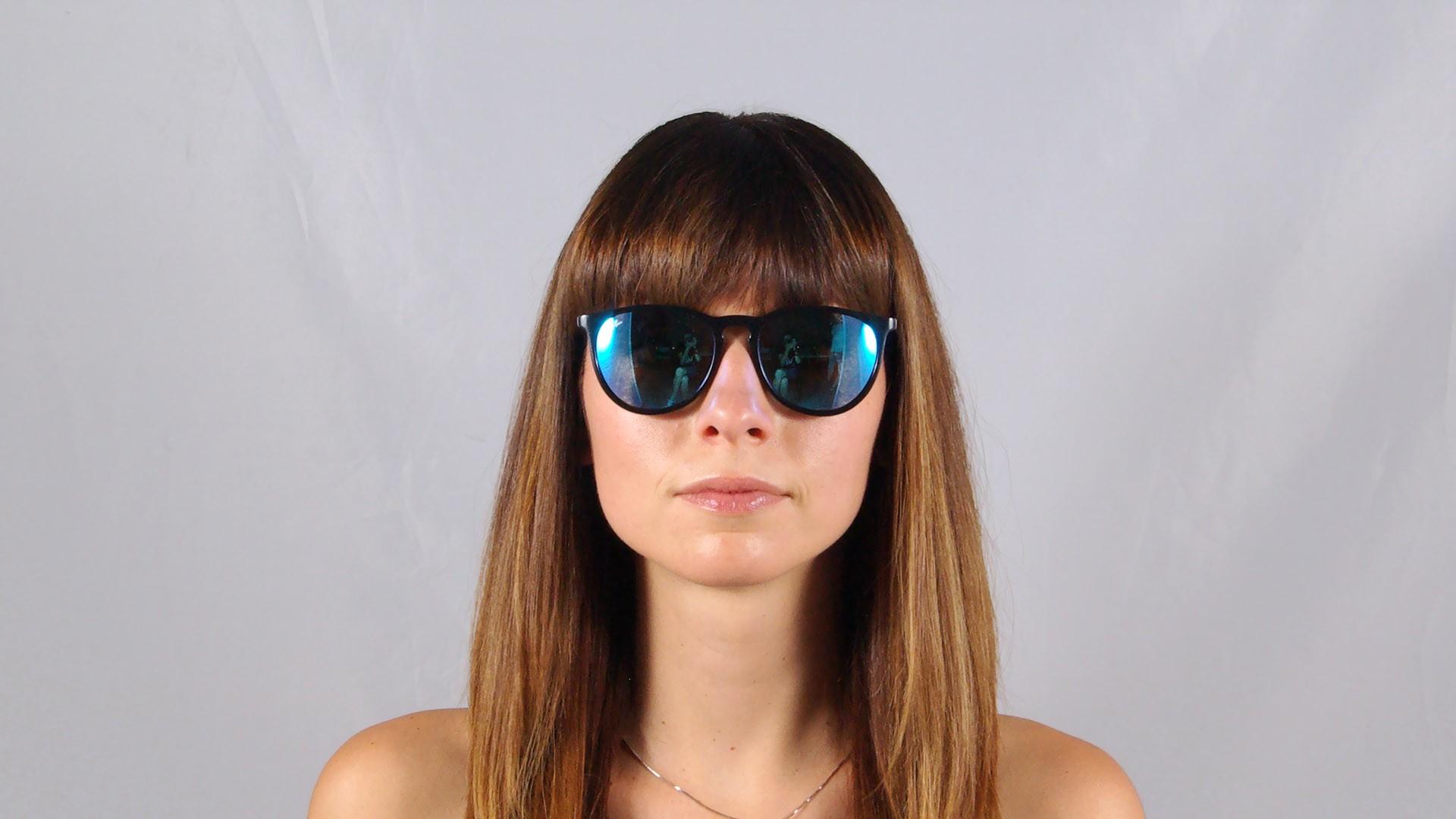 e2dd5d671267ea Lunettes de soleil Ray-Ban Erika Noir RB4171 601 55 54-18 Medium Verres  Miroirs Bleus