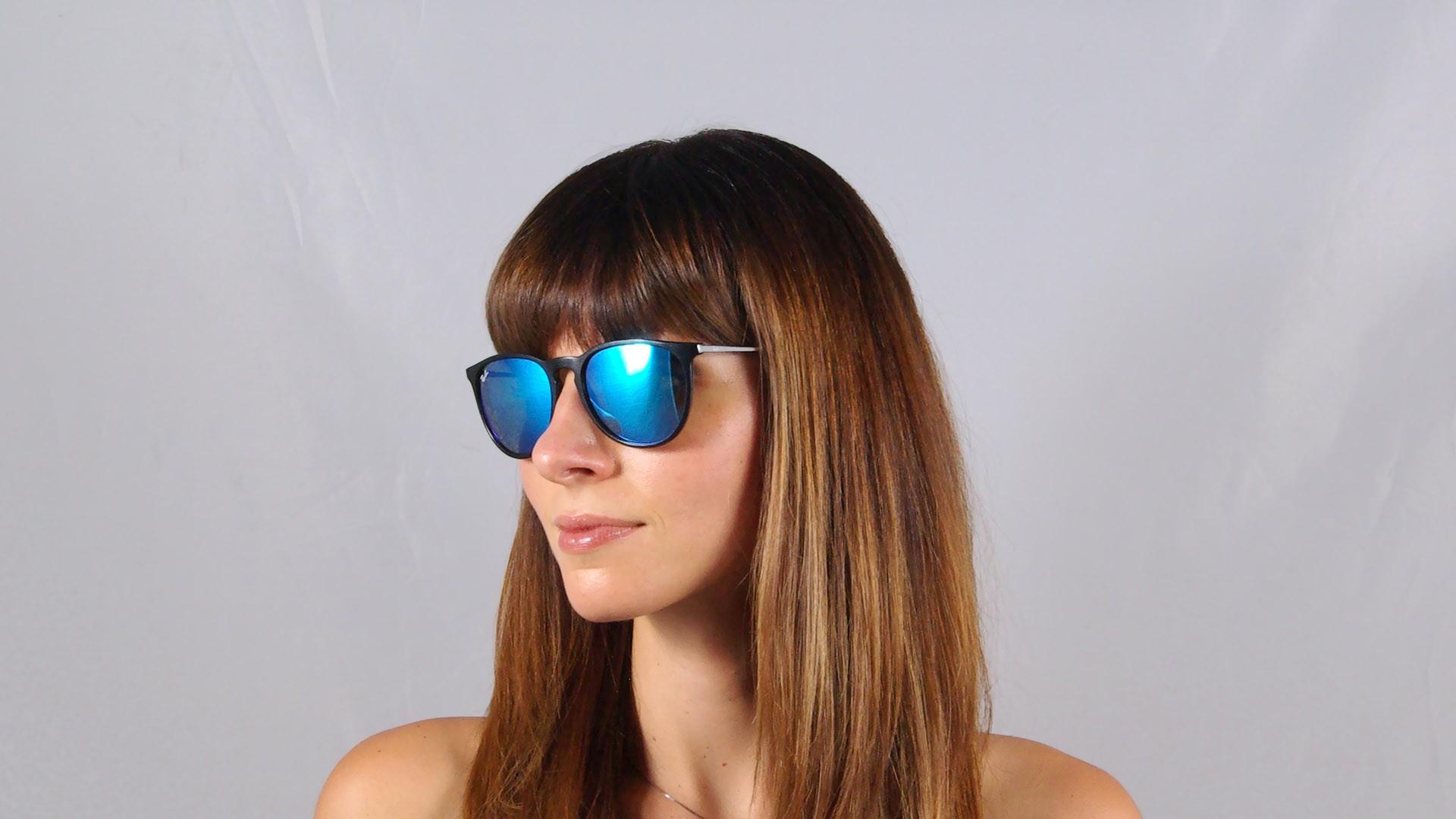 Sunglasses Ray-Ban Erika Black RB4171 601 55 54-18 Medium Mirror 0257d887df