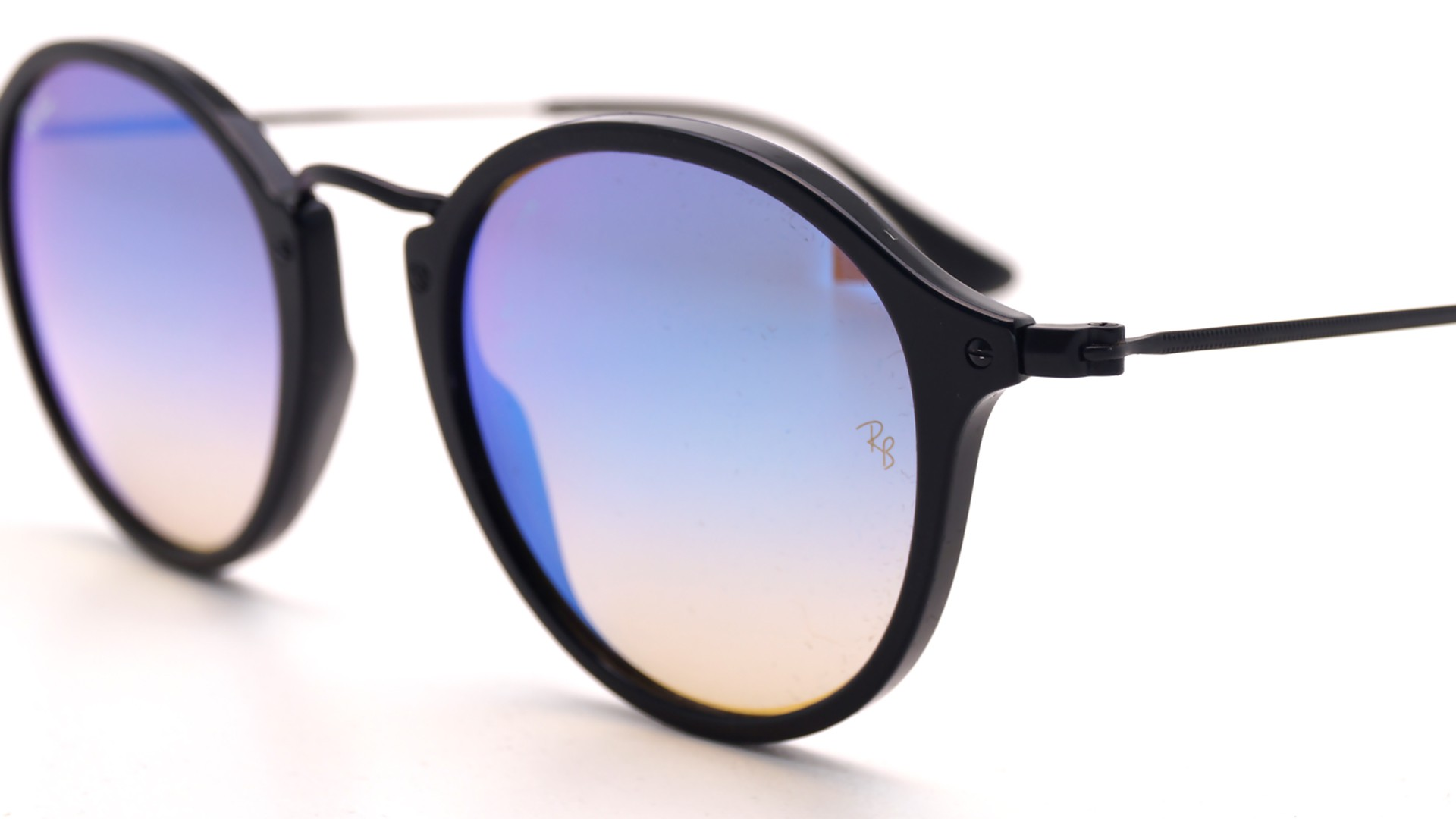 e043983b75 Sunglasses Ray-Ban Round Fleck Black RB2447 901 4O 49-21 Medium Gradient  Mirror