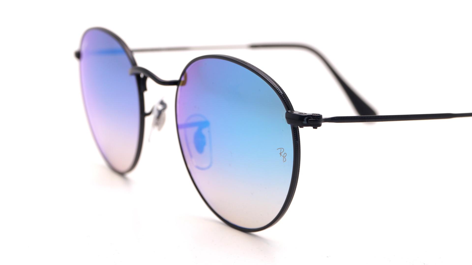 bd40cbb24 Sunglasses Ray-Ban Round Metal Black RB3447 002/4O 50-21 Medium Gradient  Mirror