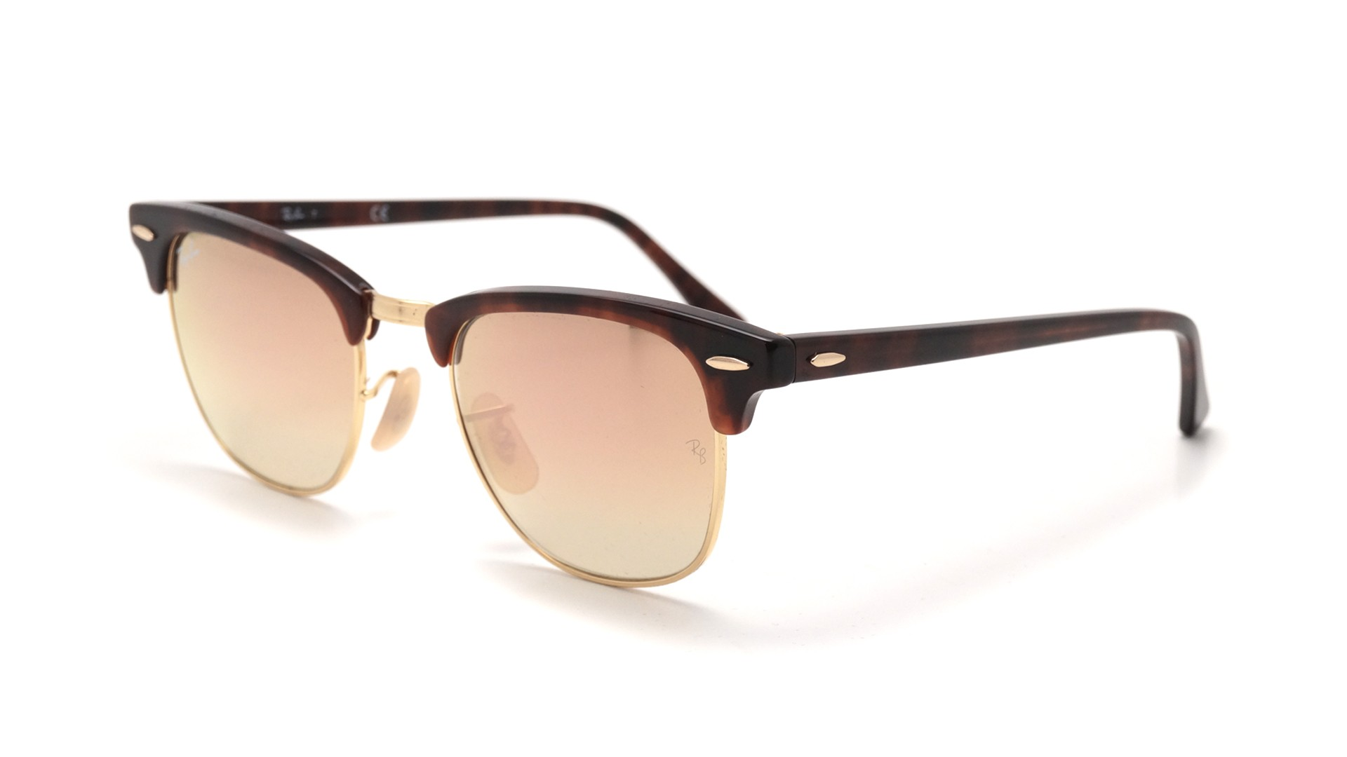 2a8bdb3f34 Sunglasses Ray-Ban Clubmaster Tortoise Flash lenses RB3016 990 7O 49-21  Small Degraded Flash
