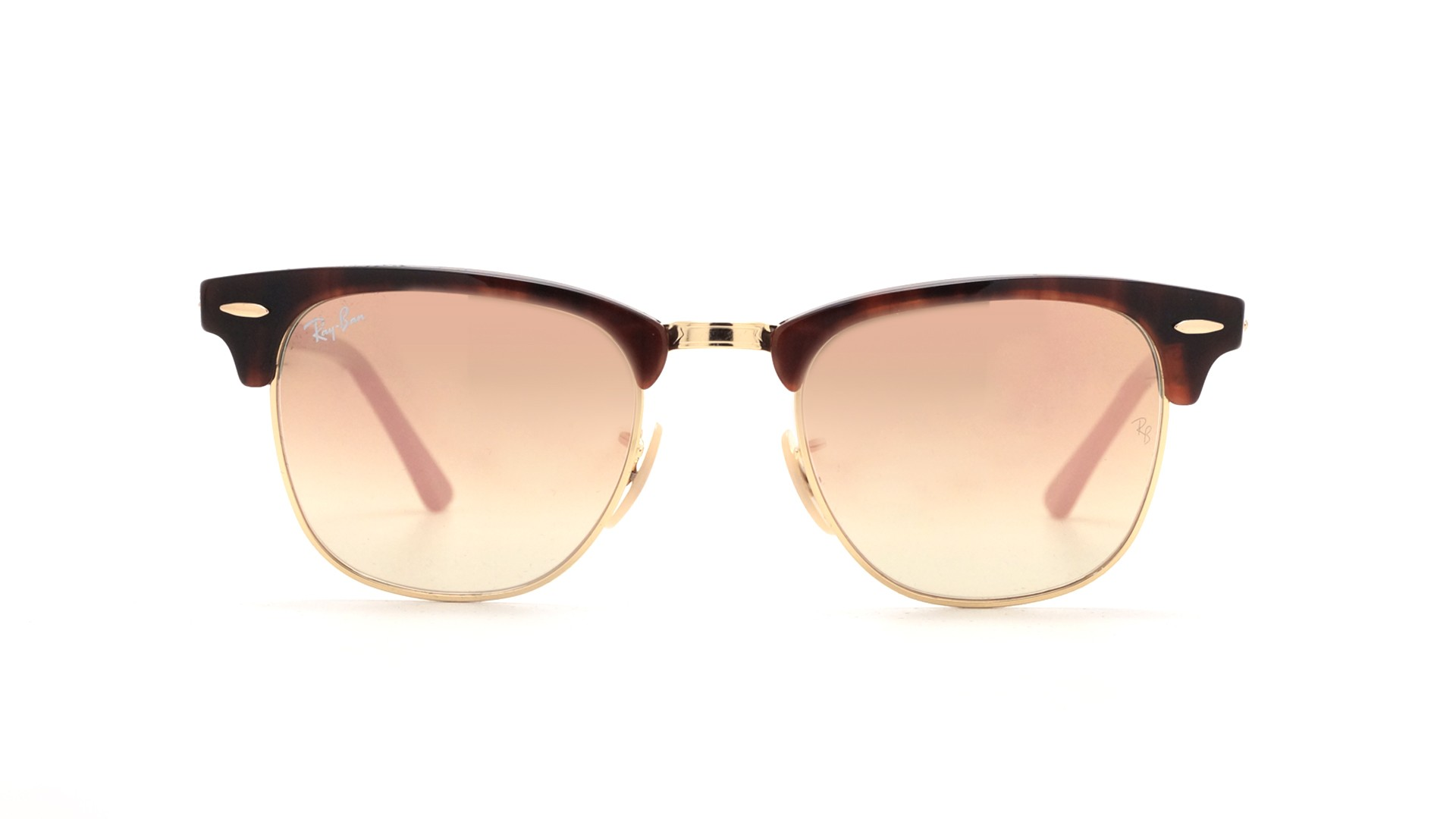 ad7c2d933eef4e Lunettes de soleil Ray-Ban Clubmaster Havana gold Écaille Flash lenses  RB3016 990 7O 49-21 Small Dégradés Miroirs