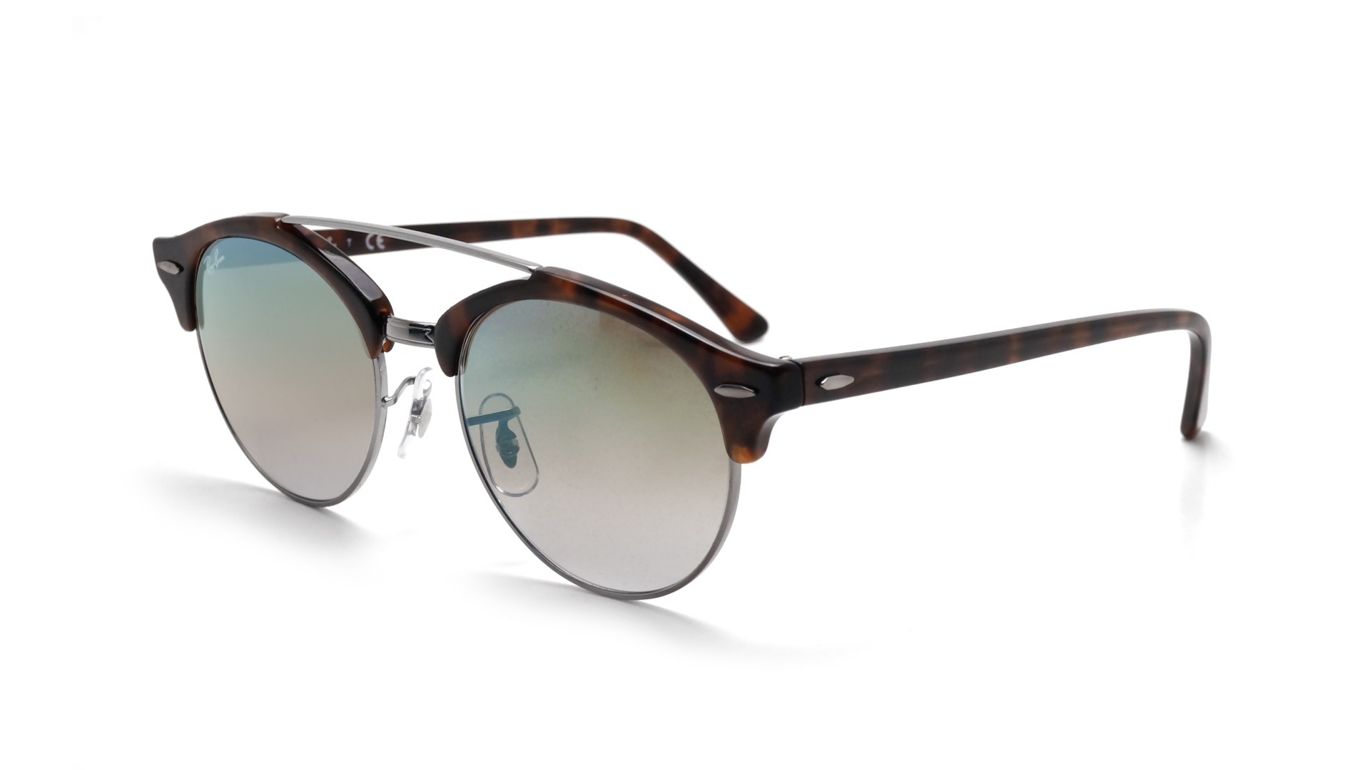 b54f3ab8a2b850 Sunglasses Ray-Ban Clubround double bridge Tortoise RB4346 62519J 51-19  Medium Mirror