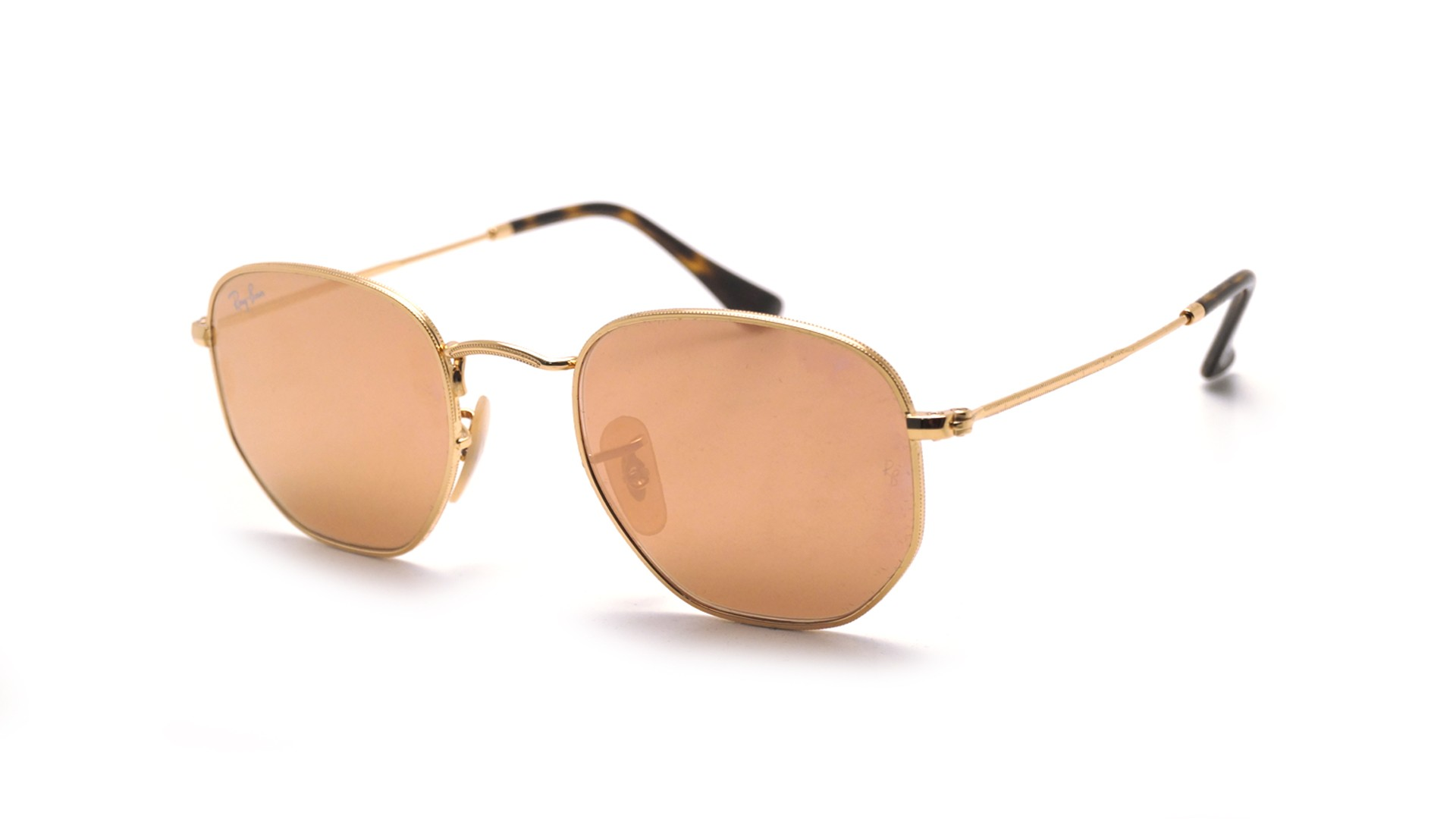 Sunglasses Ray-Ban Hexagonal flat lenses Gold RB3548N 001 Z2 48-21 Small  Mirror 04649f9f47a2