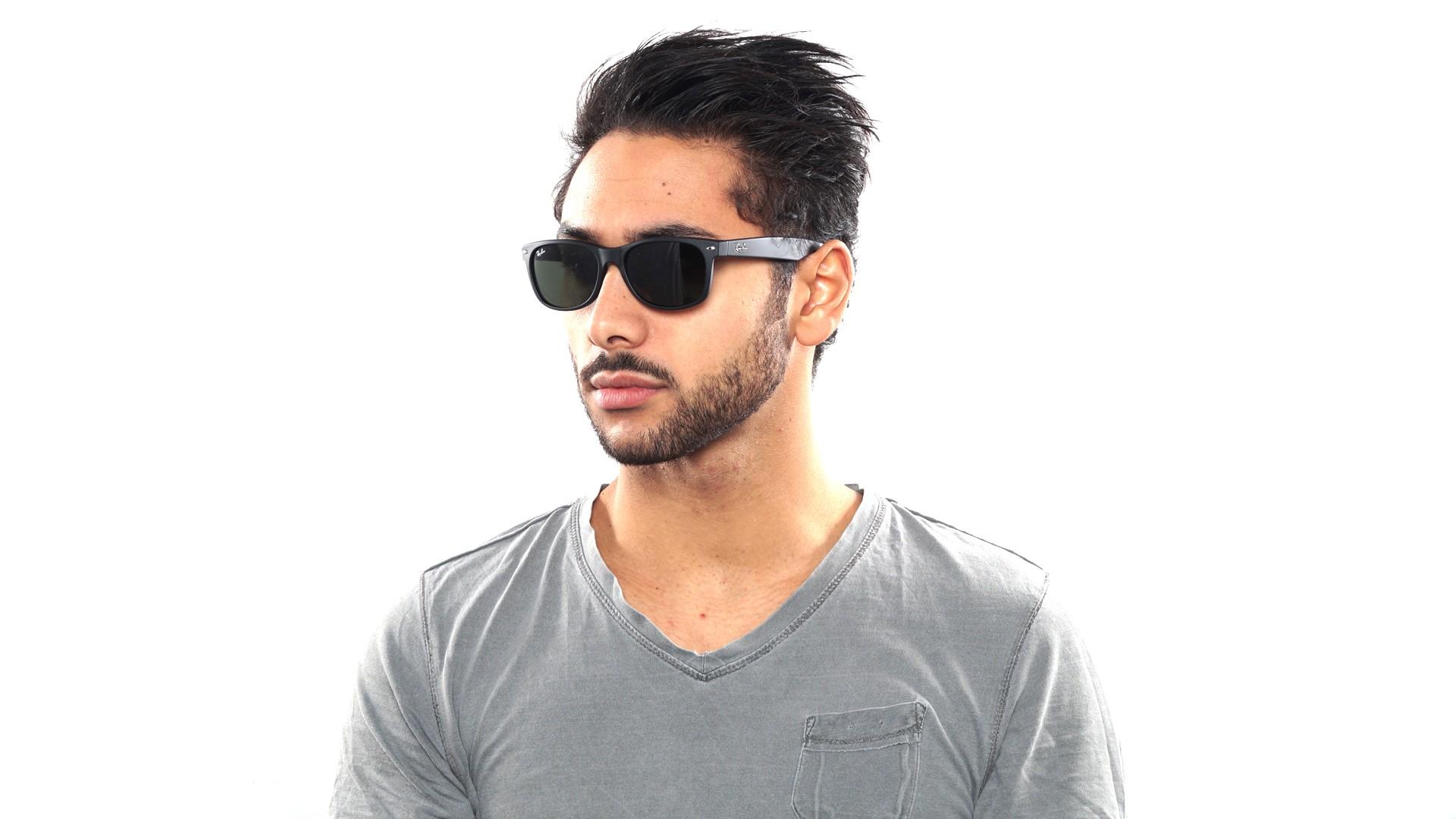 a1243b1b49a Sunglasses Ray-Ban New Wayfarer Asian Fit Black Matte G15 RB2132F 622 55-18  Large