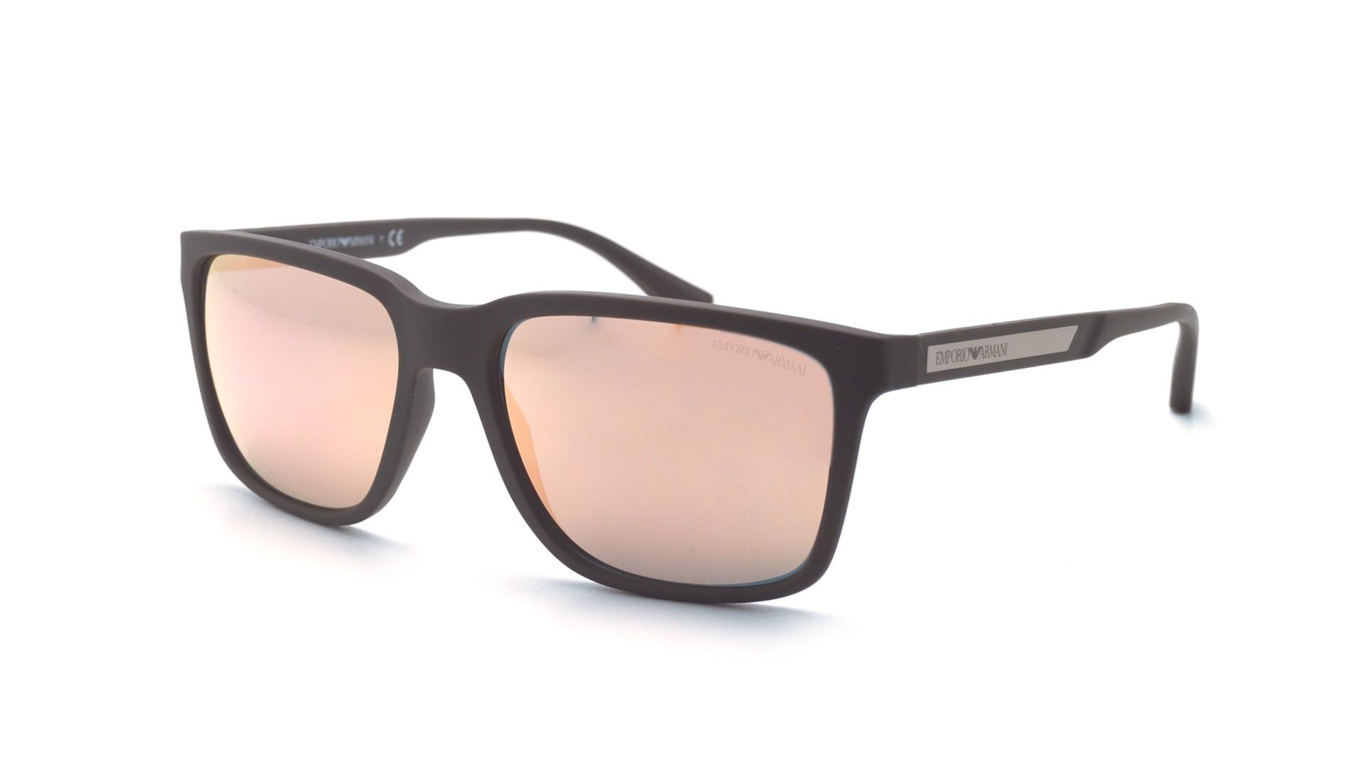aaae4f7b8ea6 Sunglasses Emporio Armani EA4047 53054Z 56-17 Brown Matte Large Mirror