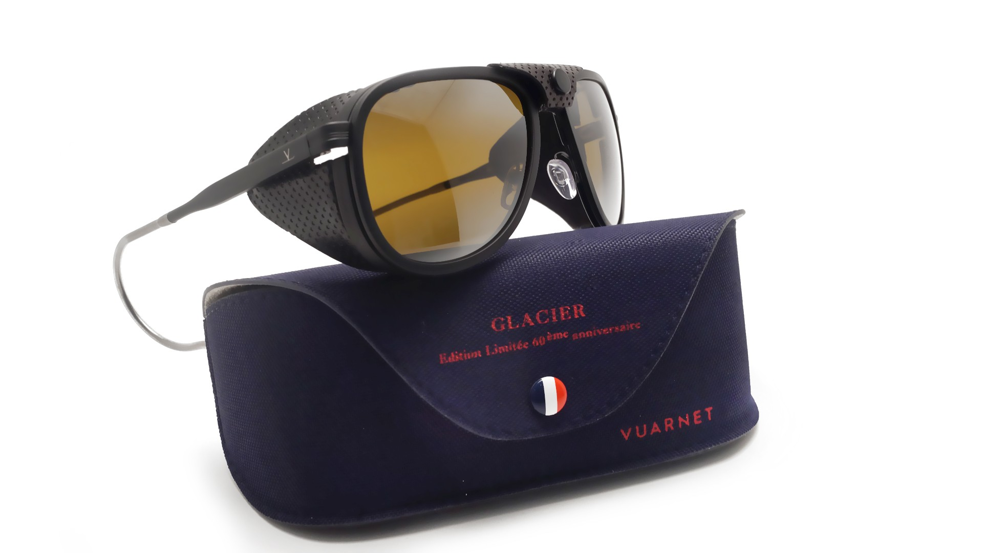 1c8d3334f5be8 Sunglasses Vuarnet Glacier 1957 Black Matte VL1315 0010 57-17 Skilynx  Medium Mirror