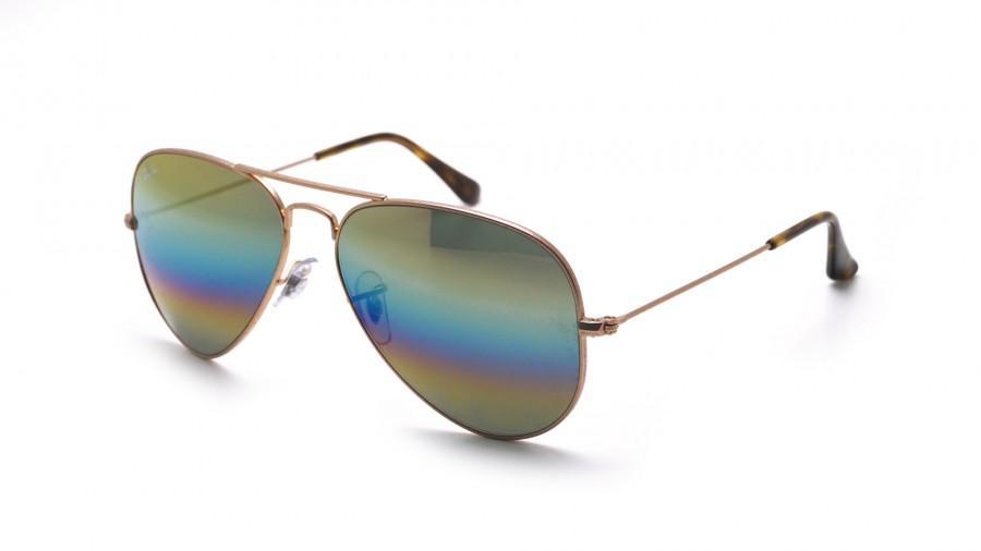 98b889534ff9b0 Sonnenbrillen Ray-Ban Aviator Large Metal Rainbow Gold Matt RB3025 9020/C4  58-14 Mittel Gradient Gläser