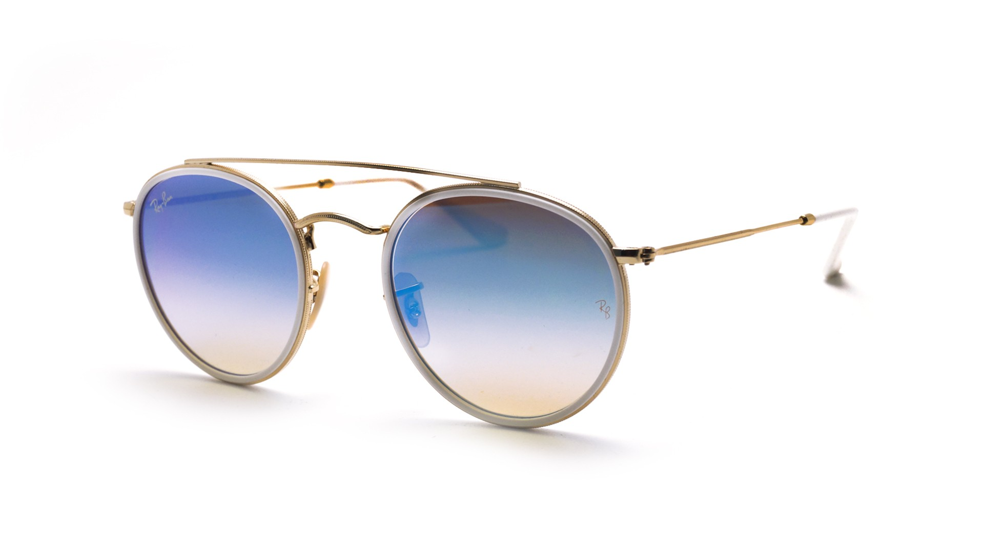 a049d7046e Sunglasses Ray-Ban Round Double Bridge Gold RB3647N 001 4O 51-22 Medium  Gradient Mirror