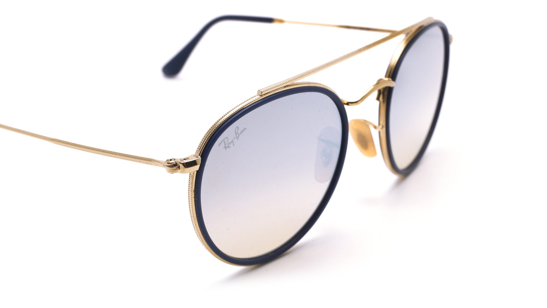 fafc207f28c24 Sunglasses Ray-Ban Round Double Bridge Gold RB3647N 001 9U 51-22 Medium  Gradient Mirror