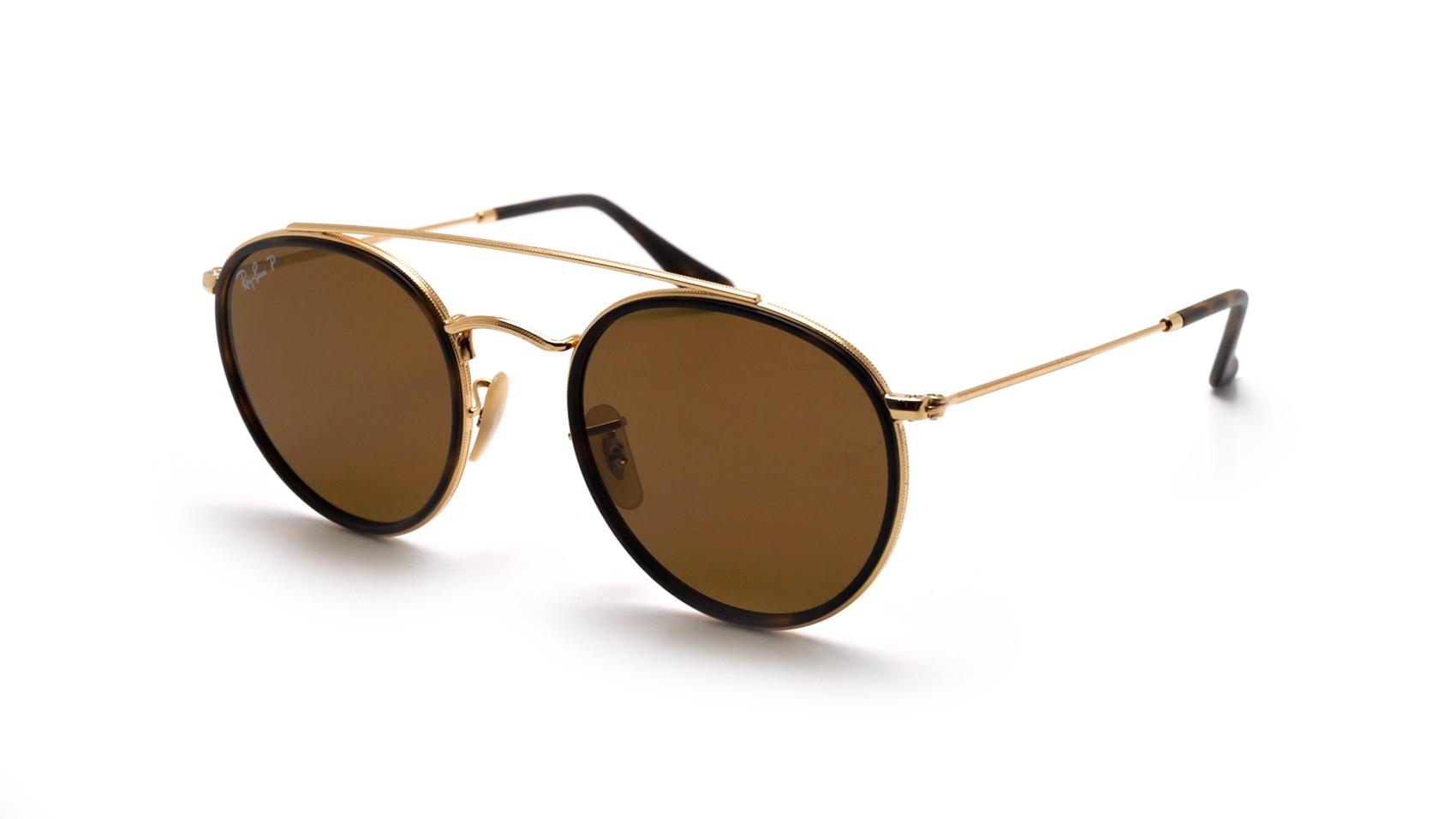5740c9e467a203 Sunglasses Ray-Ban Round Double Bridge Gold RB3647N 001 57 51-22 Medium  Polarized