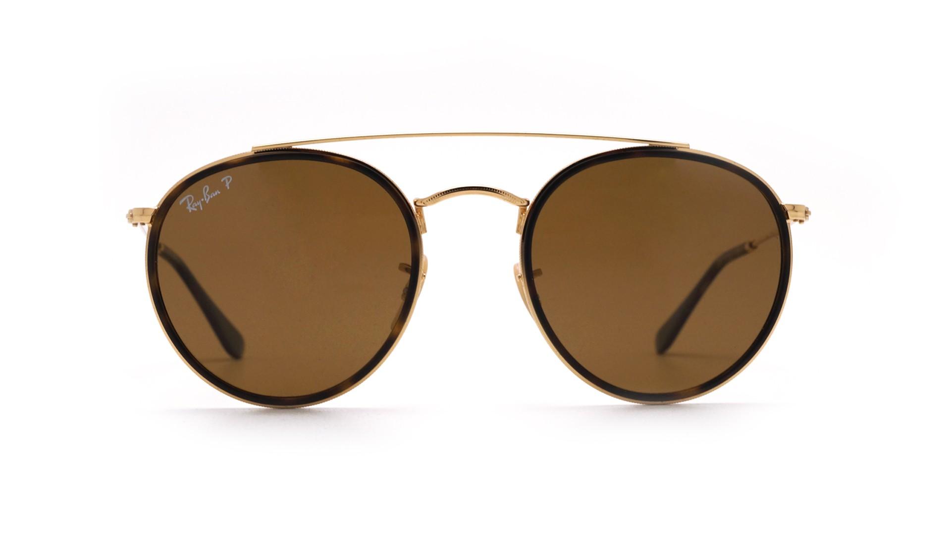 8a94dd8844b Sunglasses Ray-Ban Round Double Bridge Gold RB3647N 001 57 51-22 Medium  Polarized