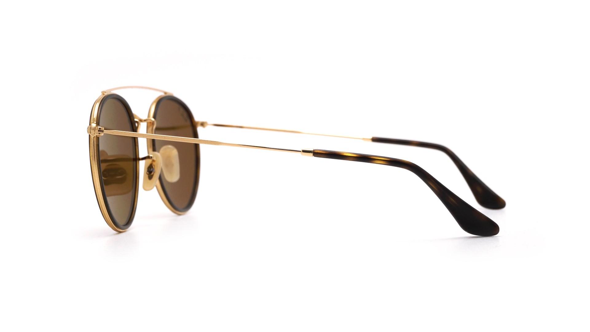 26526de215a Sunglasses Ray-Ban Round Double Bridge Gold RB3647N 001 57 51-22 Medium  Polarized