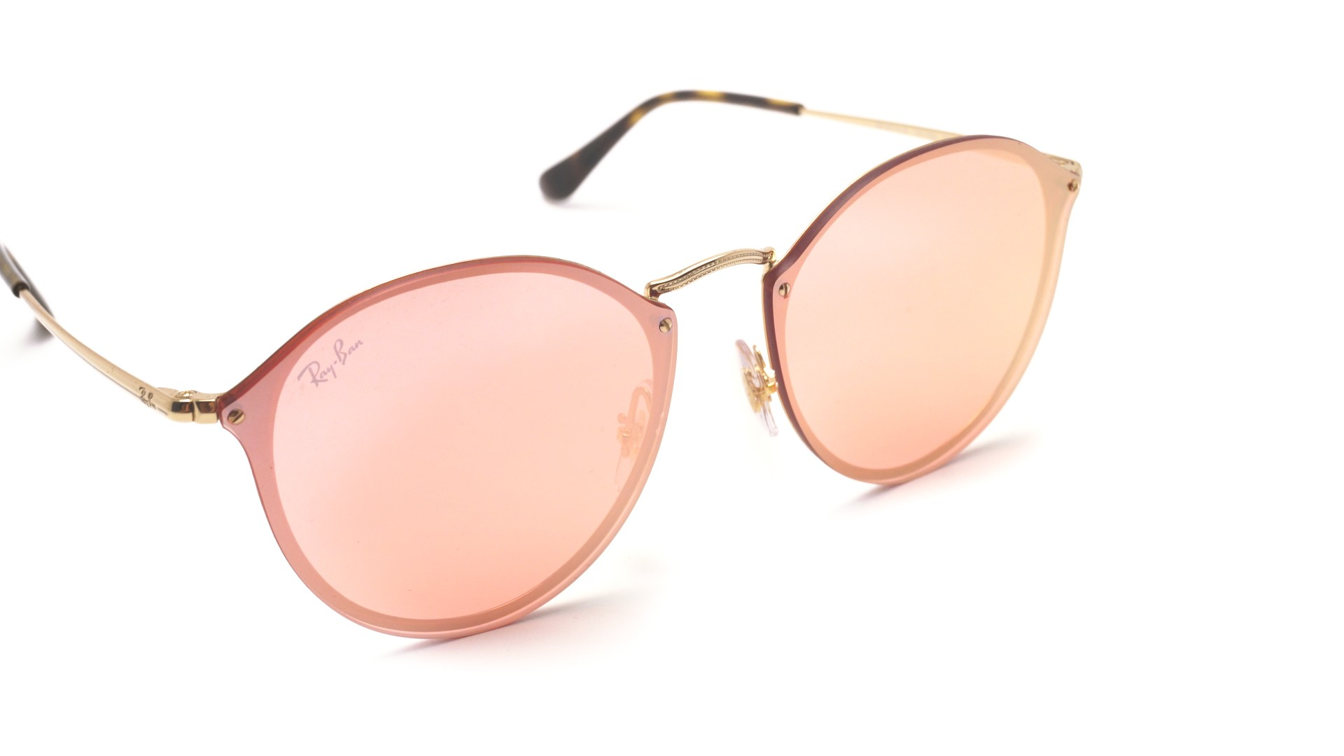 6a4bcf34e0 Sunglasses Ray-Ban Round Blaze Gold RB3574N 001 E4 59-14 Large Mirror