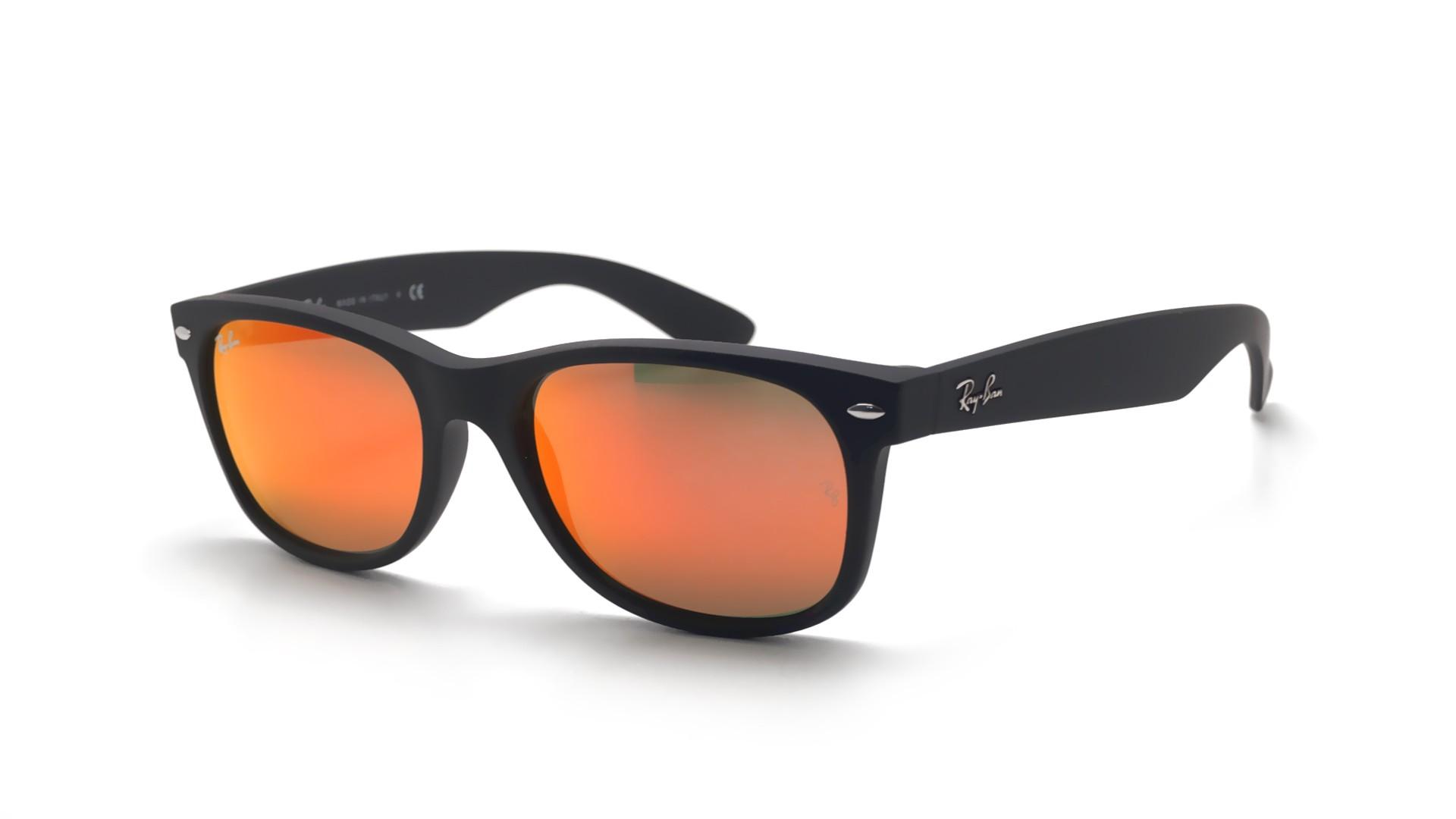 712920ef9b1 Sonnenbrillen Ray-Ban New Wayfarer Schwarz Matt RB2132 622 69 55-18 Breit  Verspiegelte Gläser