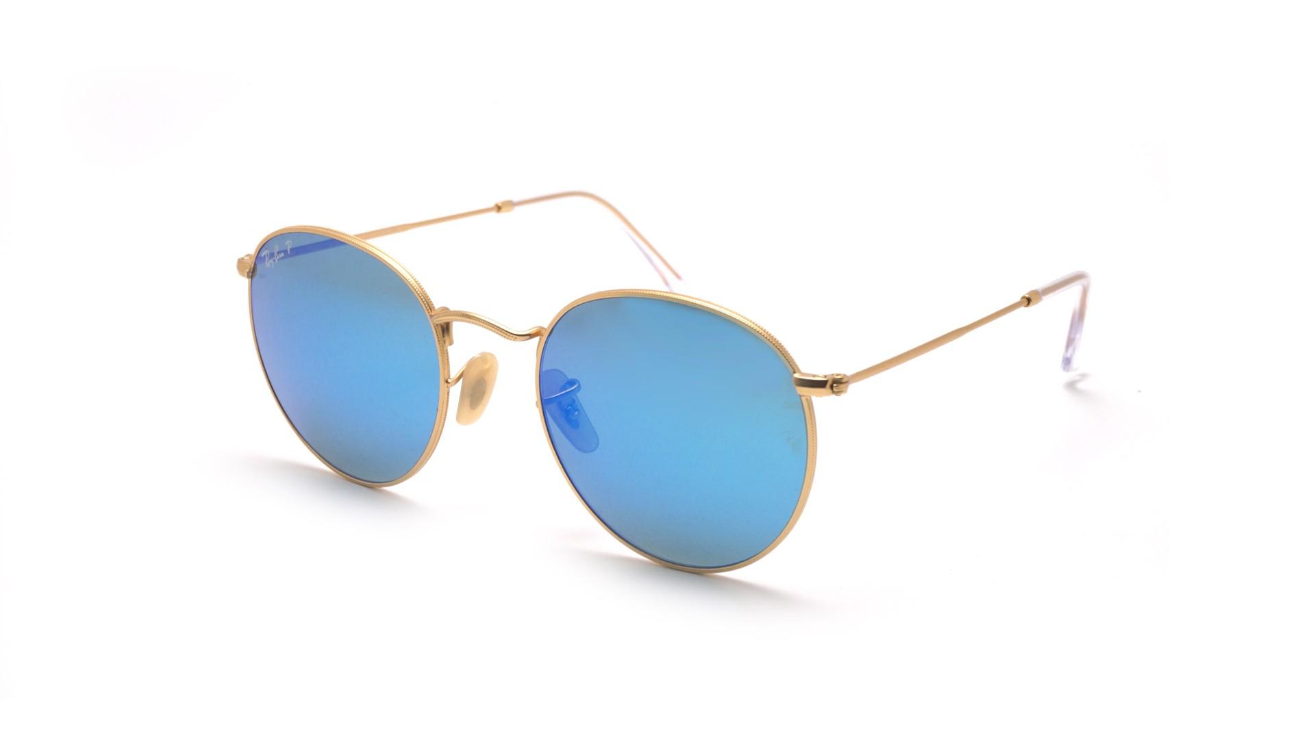 104544ebec Sunglasses Ray-Ban Round Metal Gold Flash Lenses Matte RB3447 112 4L 53-21  Large Polarized Mirror