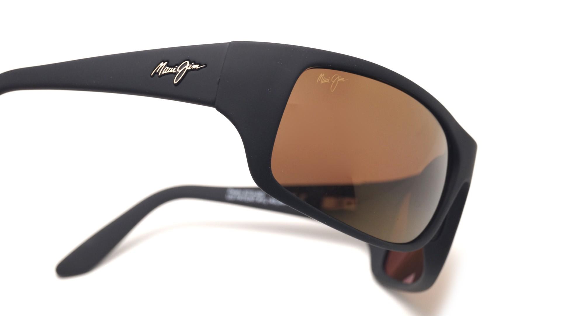 bef623e6b363 Sunglasses Maui Jim Peahi Black Matte HCL Bronze H202 2M 65-19 Large  Polarized