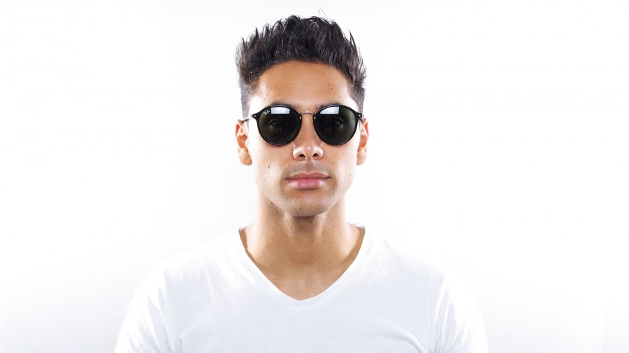 2ad8e9ece67 ... sale ray ban round fleck sunglasses black 75a4c a5ed1