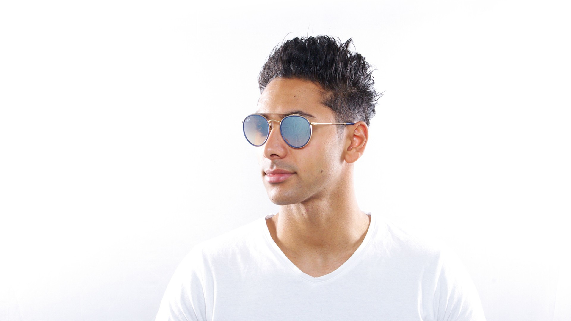67387eb633cbe Sunglasses Ray-Ban Round Double Bridge Gold RB3647N 001 9U 51-22 Medium  Gradient Mirror