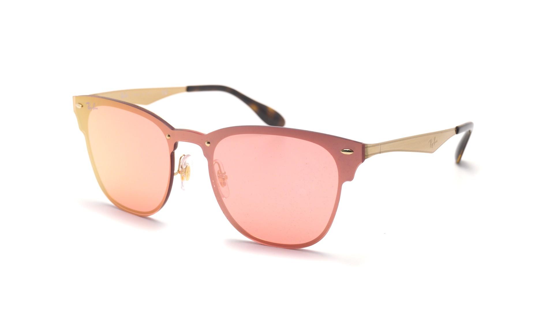 c4cdb0d666552 Sunglasses Ray-Ban Clubmaster Blaze Gold RB3576N 043 E4 Medium Mirror
