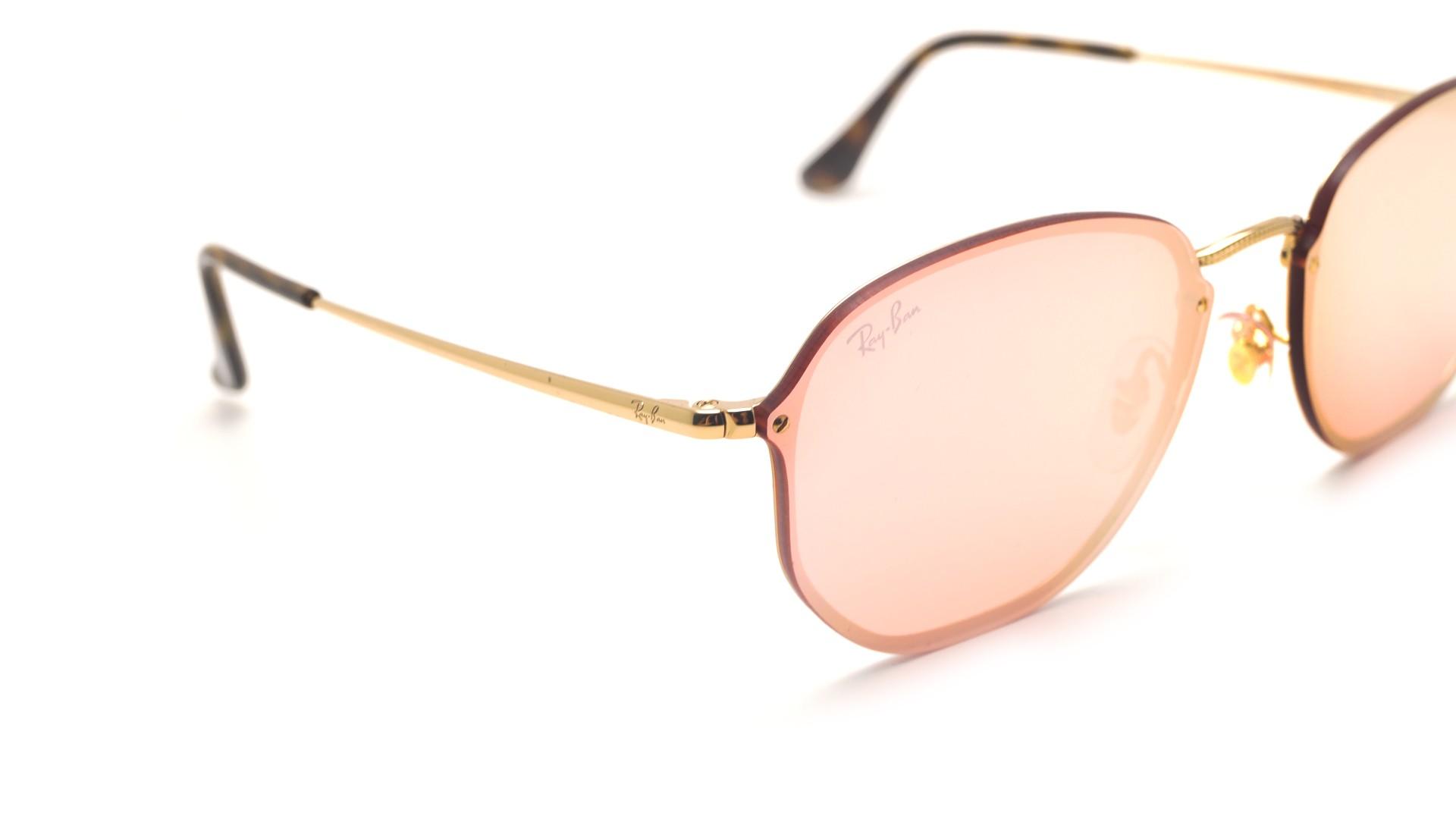 07f414c1a6d Sunglasses Ray-Ban Hexagonal Blaze Gold RB3579N 001 E4 58-15 Large Mirror