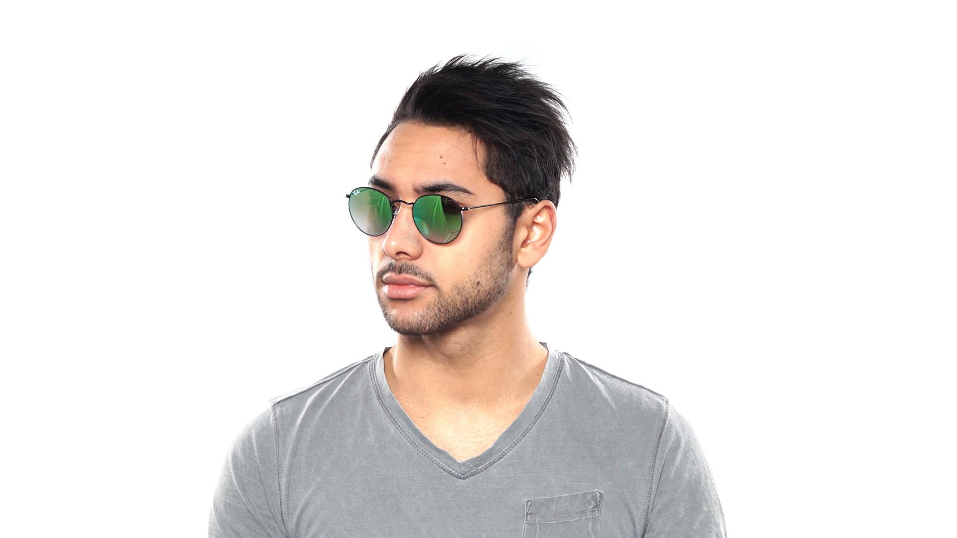 97833af583f325 Sunglasses Ray-Ban Round Metal Black RB3447 002 4J 50-21 Medium Gradient  Mirror