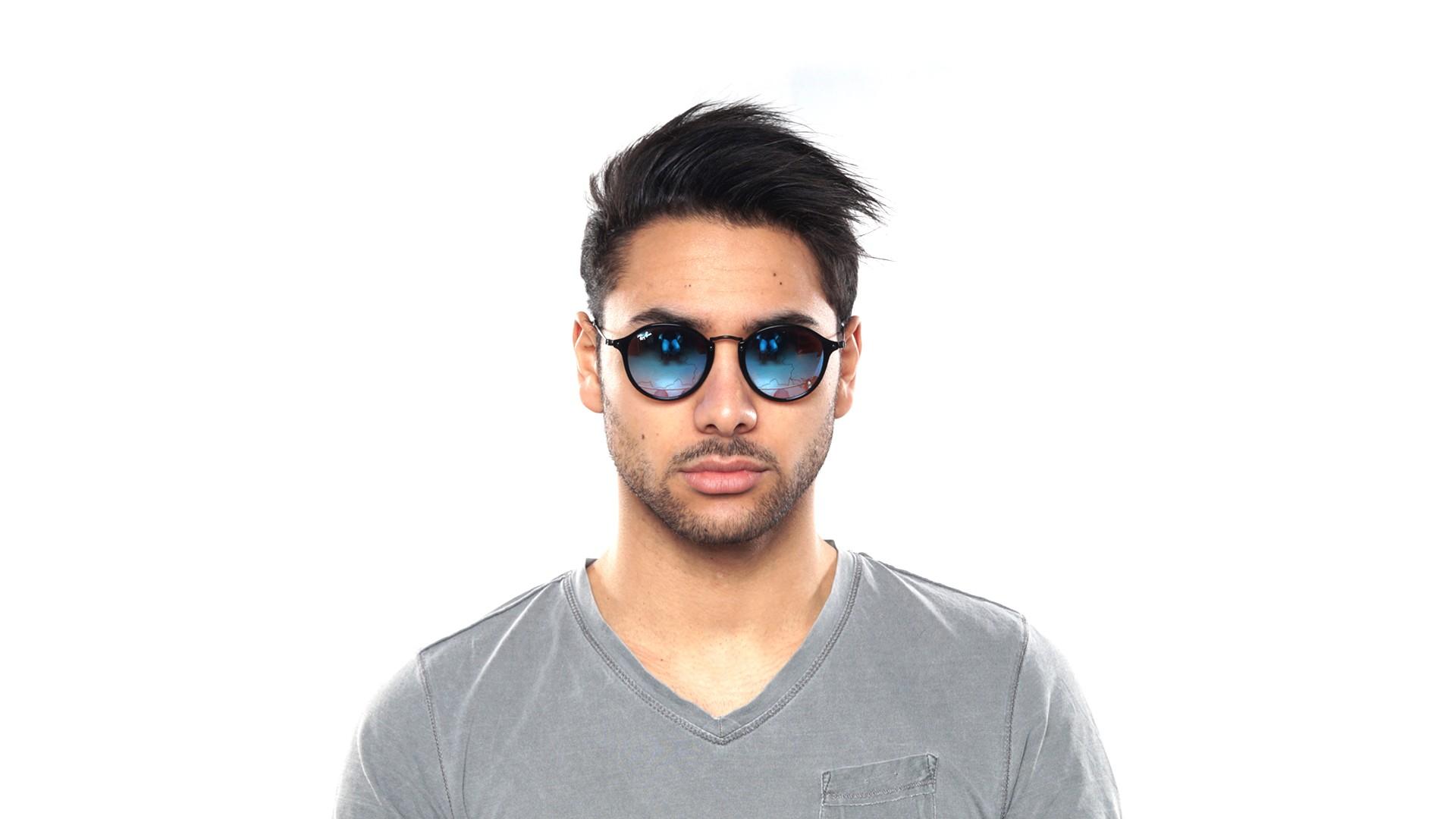 13adf8e8b9c Sunglasses Ray-Ban Round Fleck Black RB2447 901 4O 49-21 Medium Gradient  Mirror