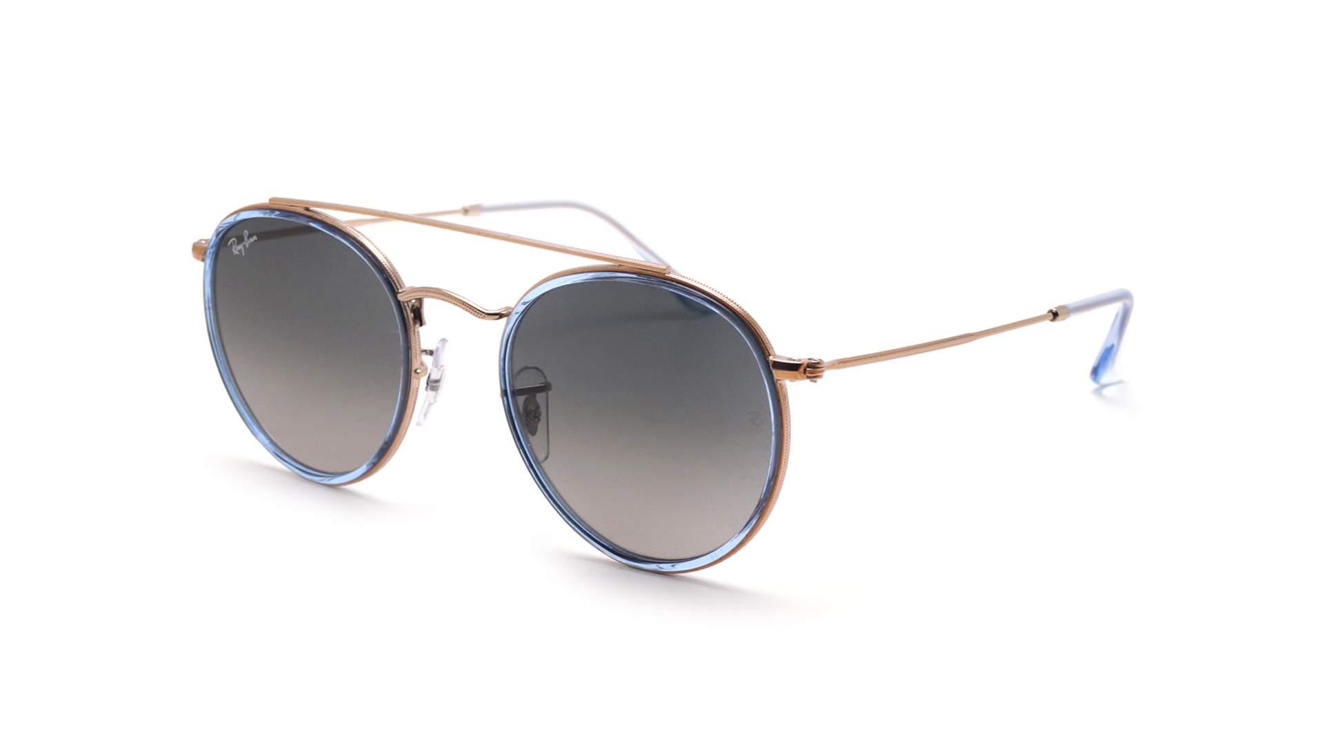 6e53a1d5c41 Sunglasses Ray-Ban Round Double Bridge Blue RB3647N 9067 71 51-22 Medium  Gradient