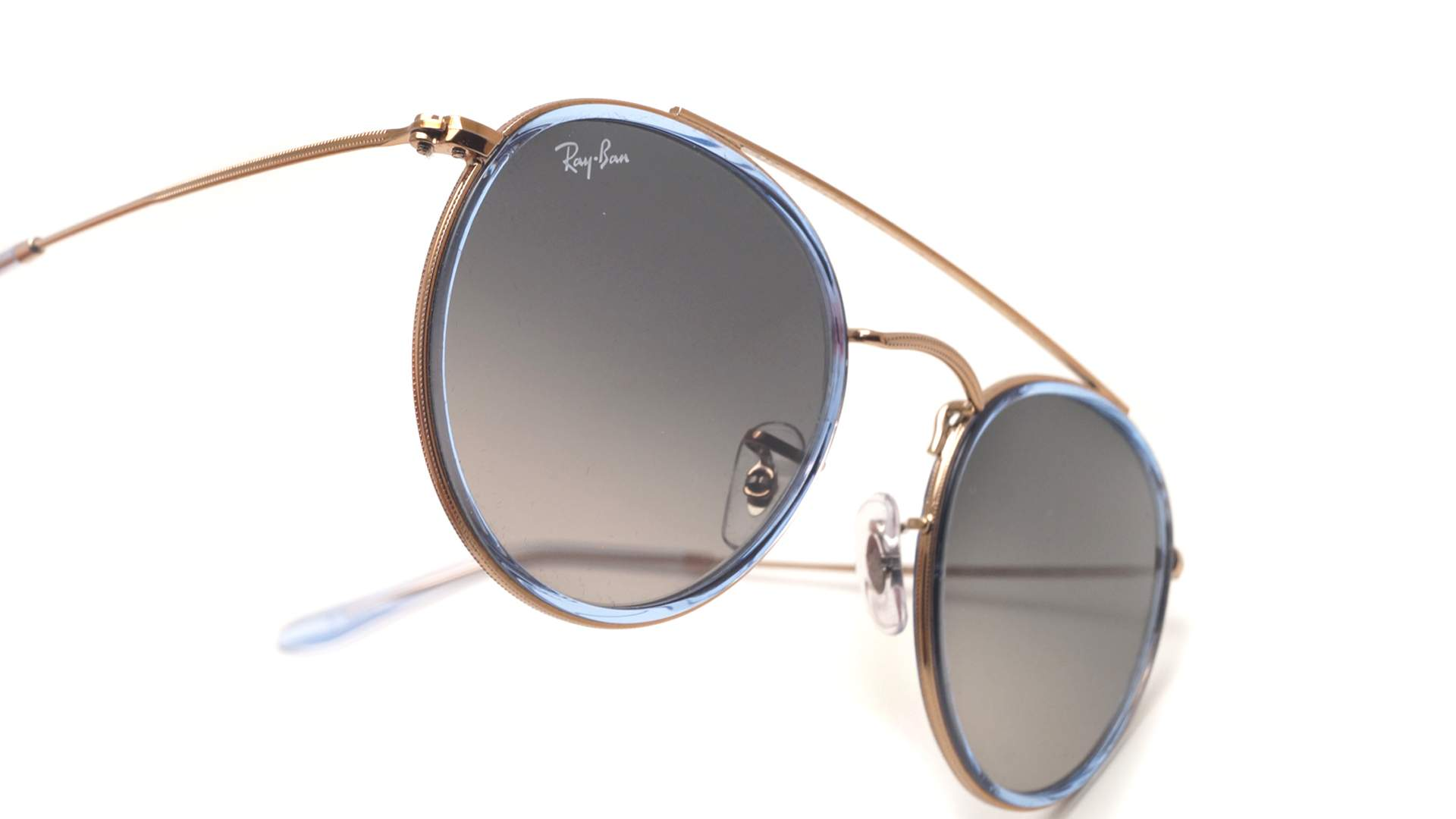 d7a8112f29 Sunglasses Ray-Ban Round Double Bridge Blue RB3647N 9067 71 51-22 Medium  Gradient